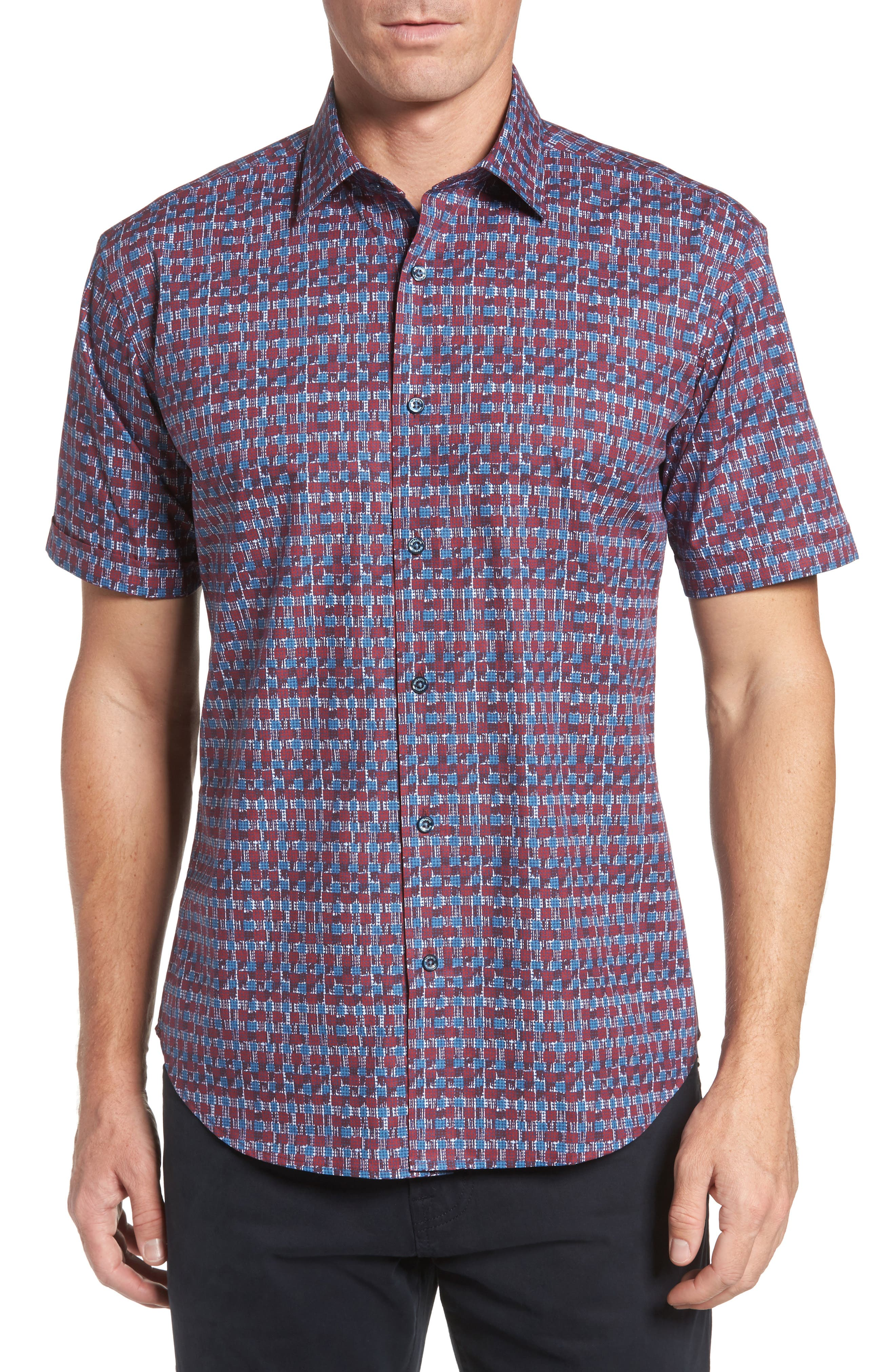 Shaped Fit Abstract Check Sport Shirt,                         Main,                         color, Ruby