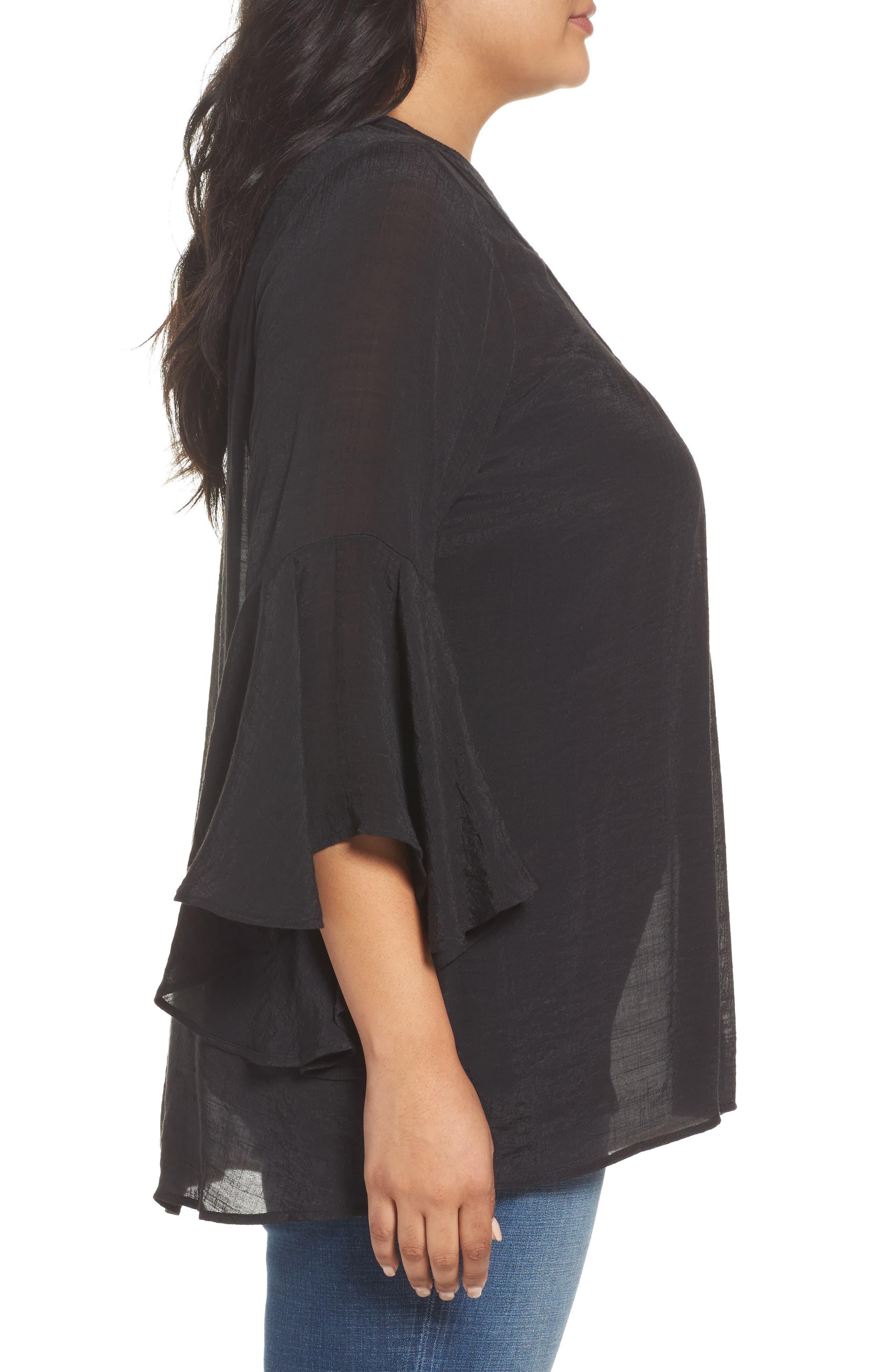 Bell Sleeve Peasant Blouse,                             Alternate thumbnail 3, color,                             Black