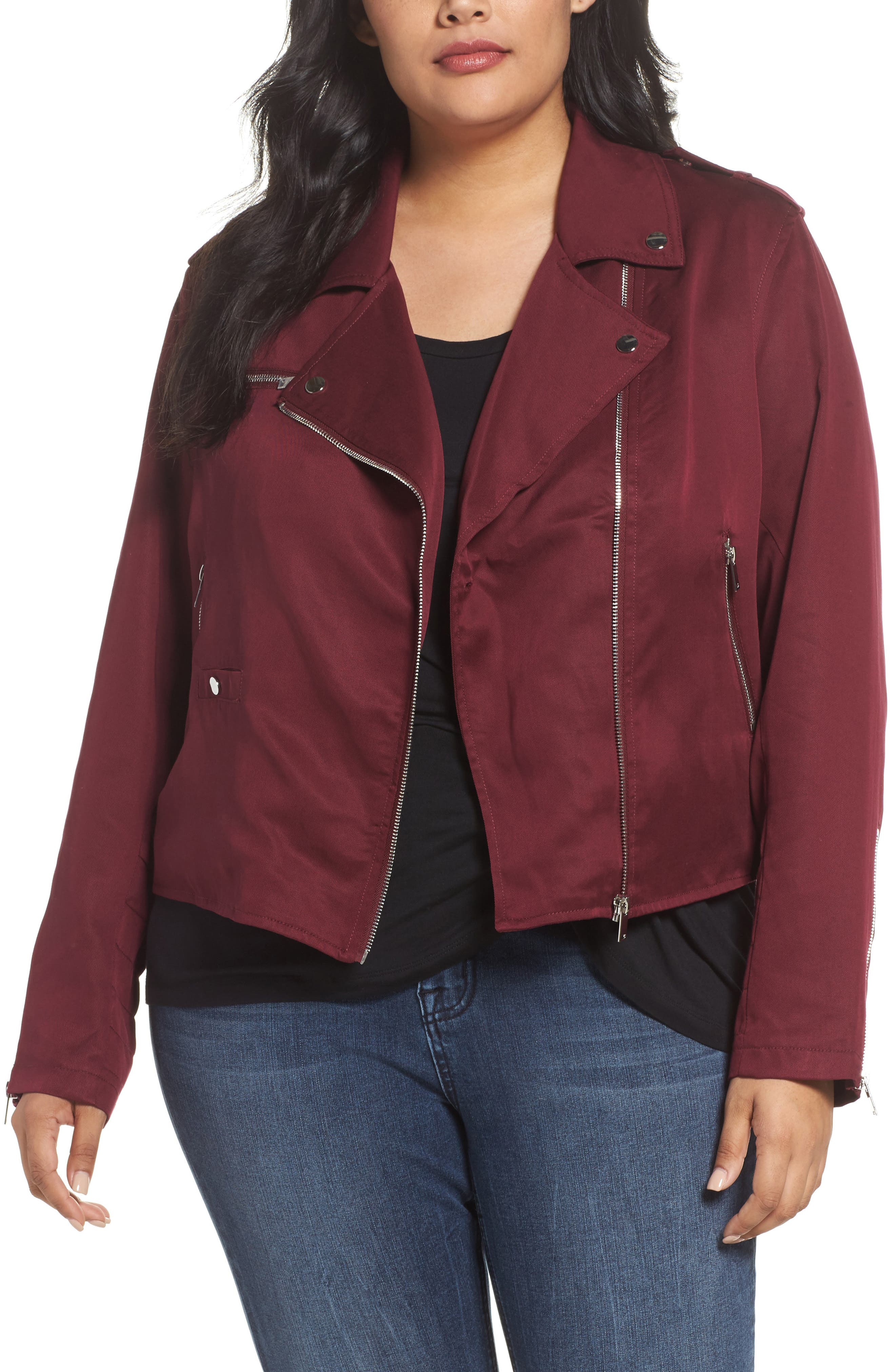 Alternate Image 1 Selected - REBEL WILSON X ANGELS Lyocell Moto Jacket (Plus Size)