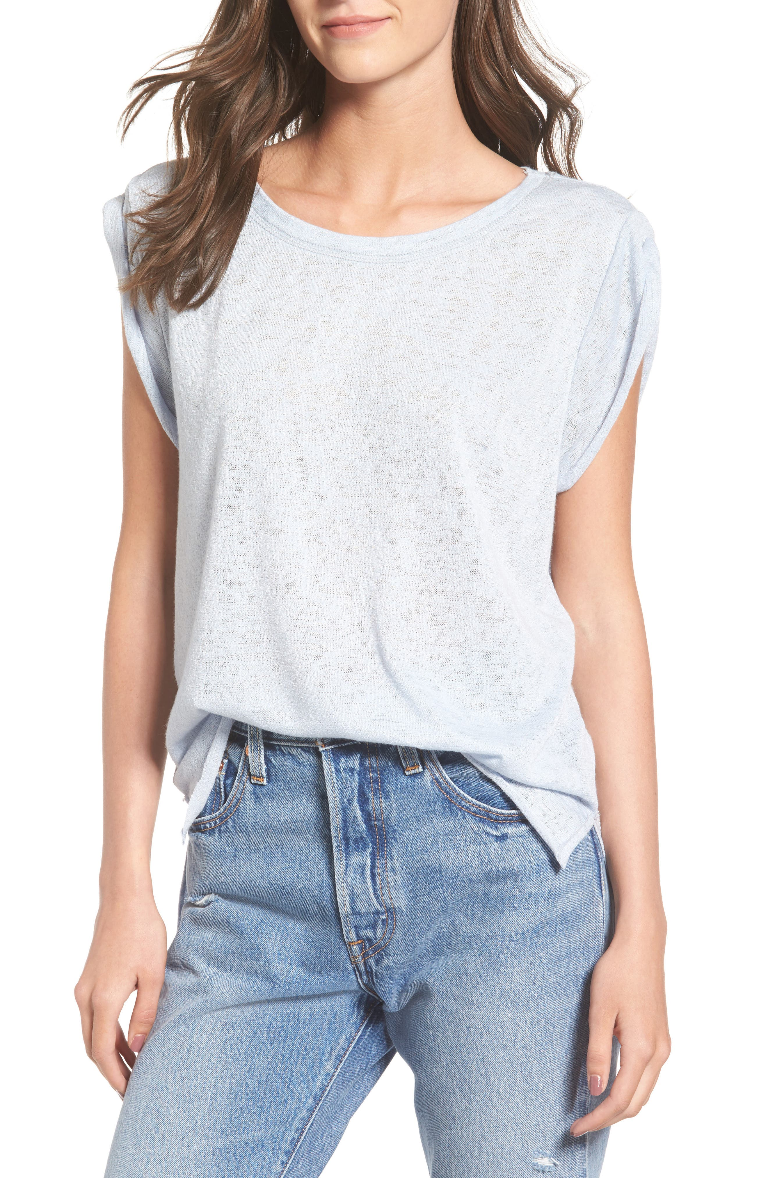PST by Project Social T Knit Tank,                         Main,                         color, Baby Blue