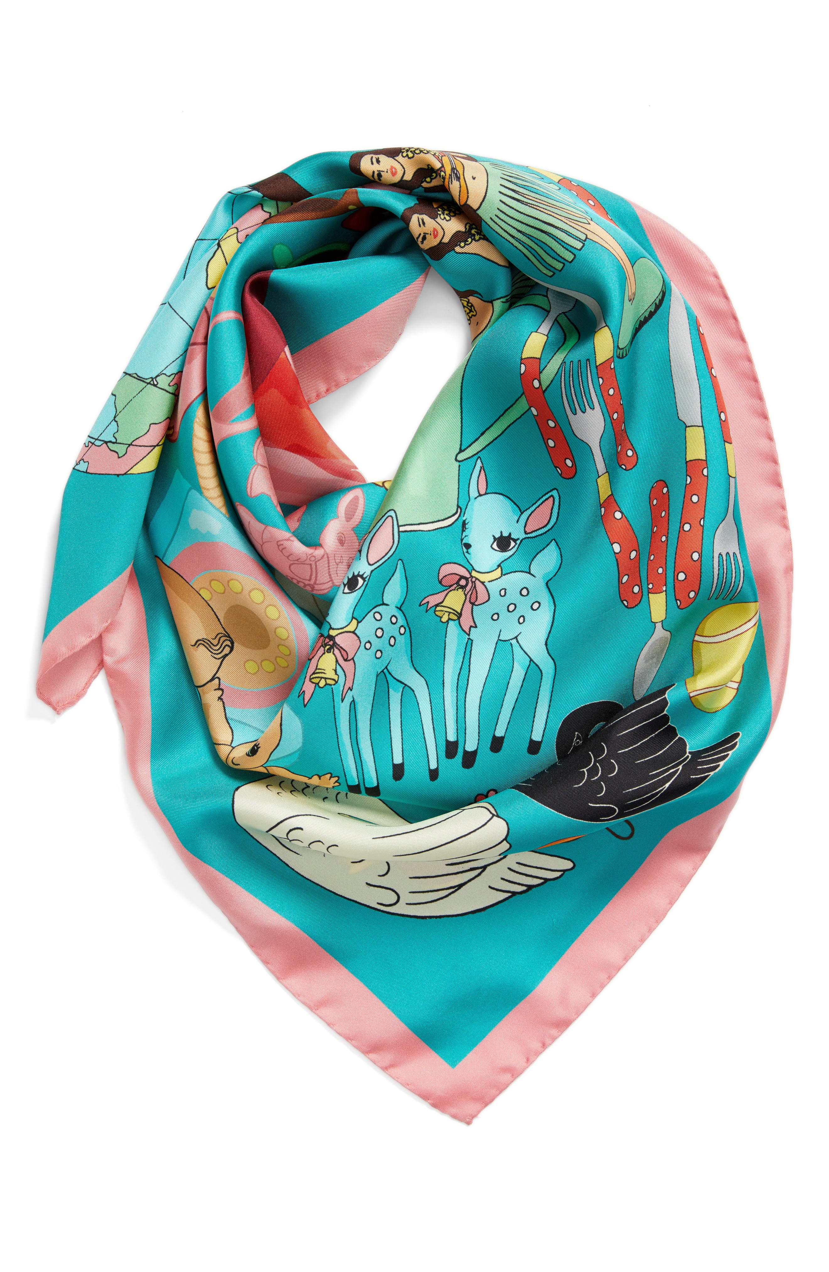 Jumble Sale Square Silk Scarf,                             Alternate thumbnail 3, color,                             Turquoise