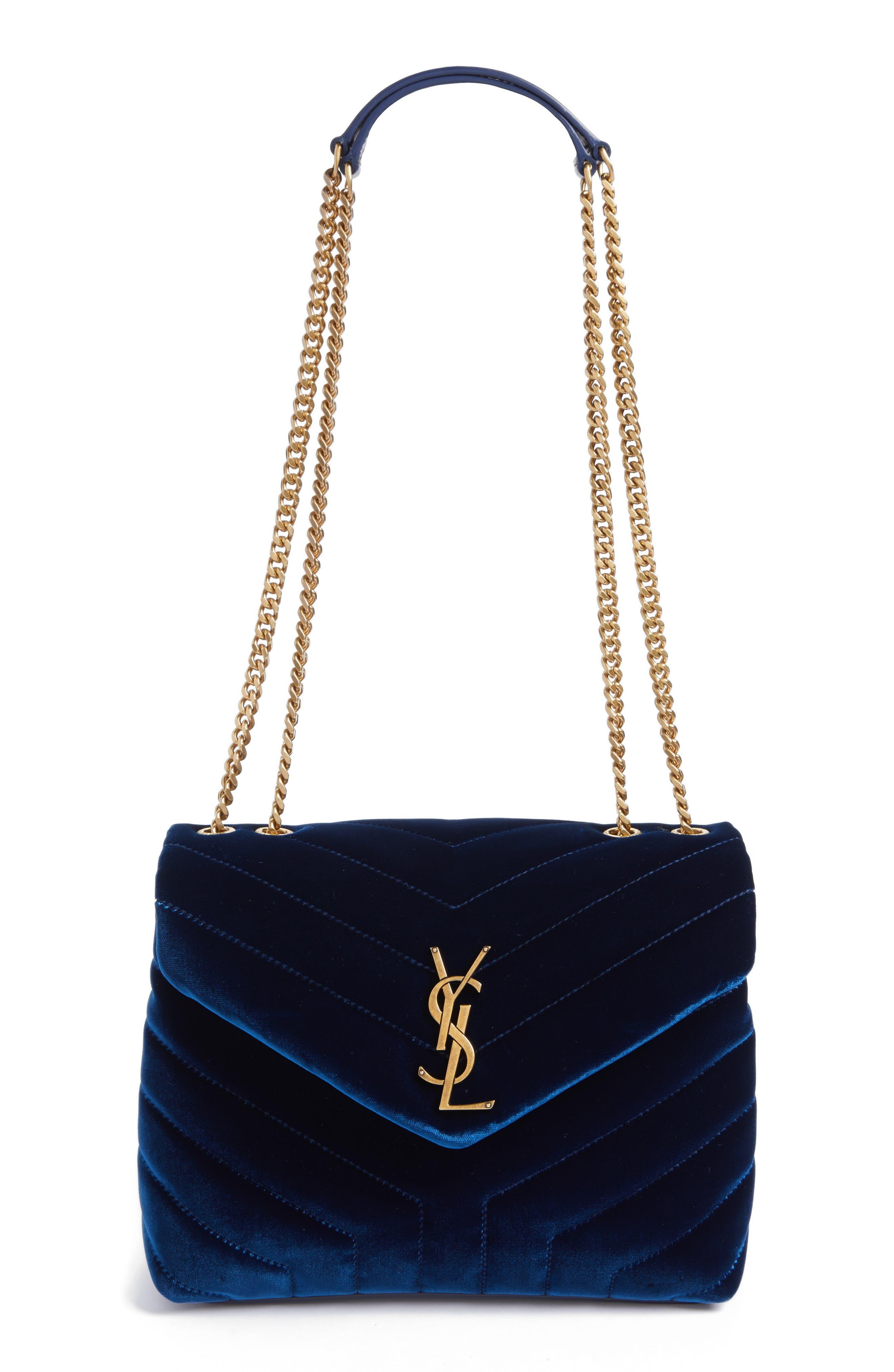 Main Image - Saint Laurent Small LouLou Matelassé Velour Shoulder Bag