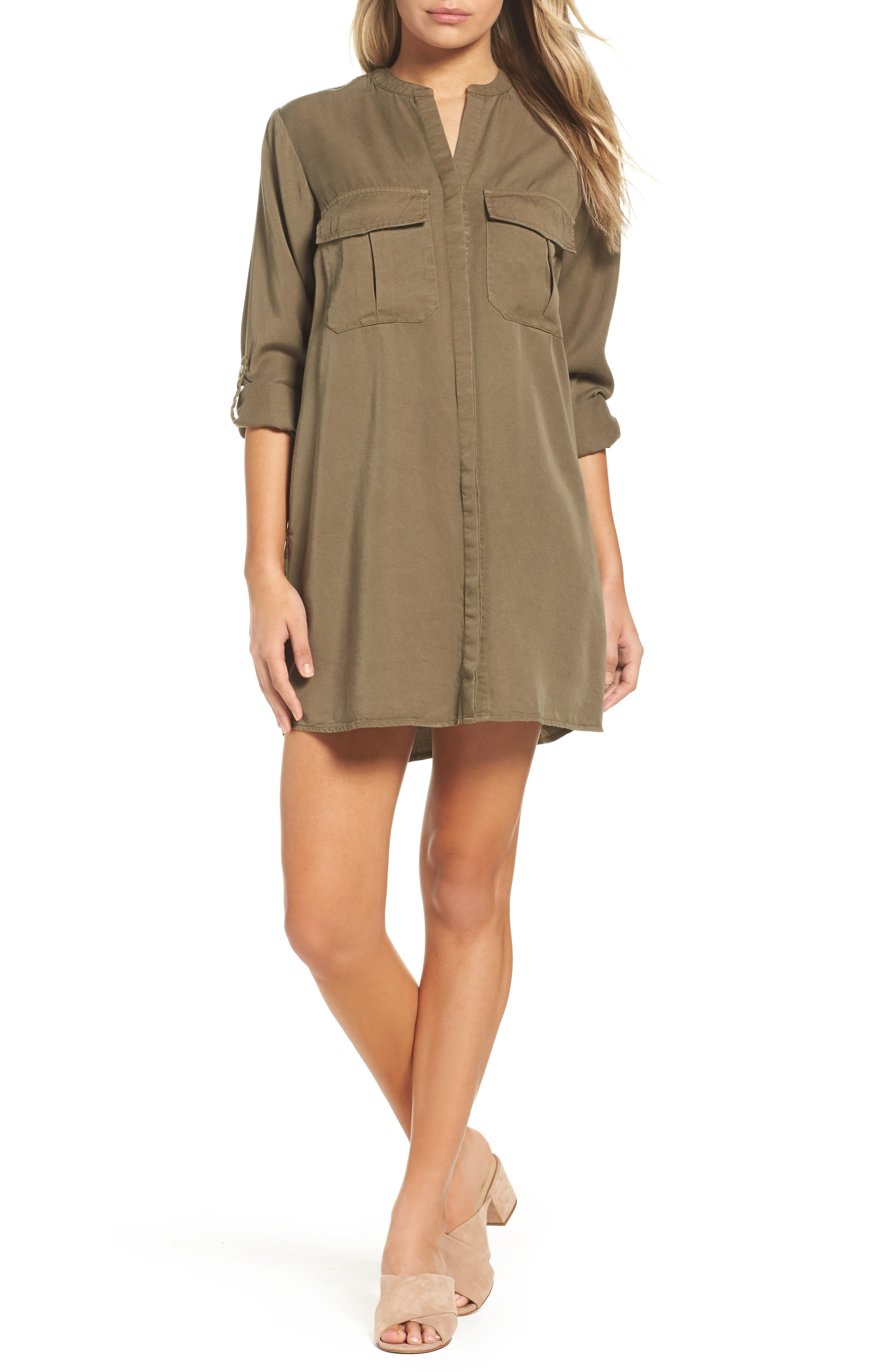 Cooper Shirtdress,                         Main,                         color, Military Green