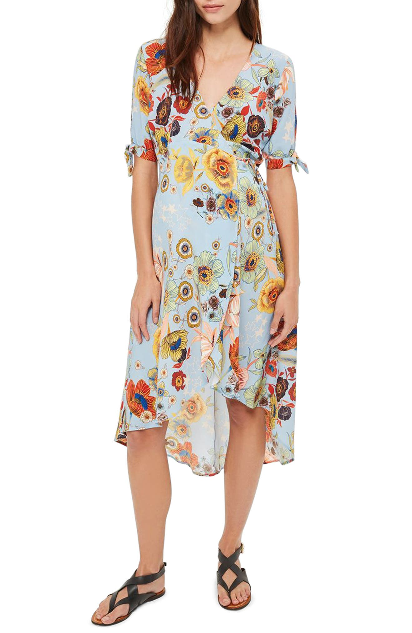 Topshop Star Floral Maternity Wrap Dress