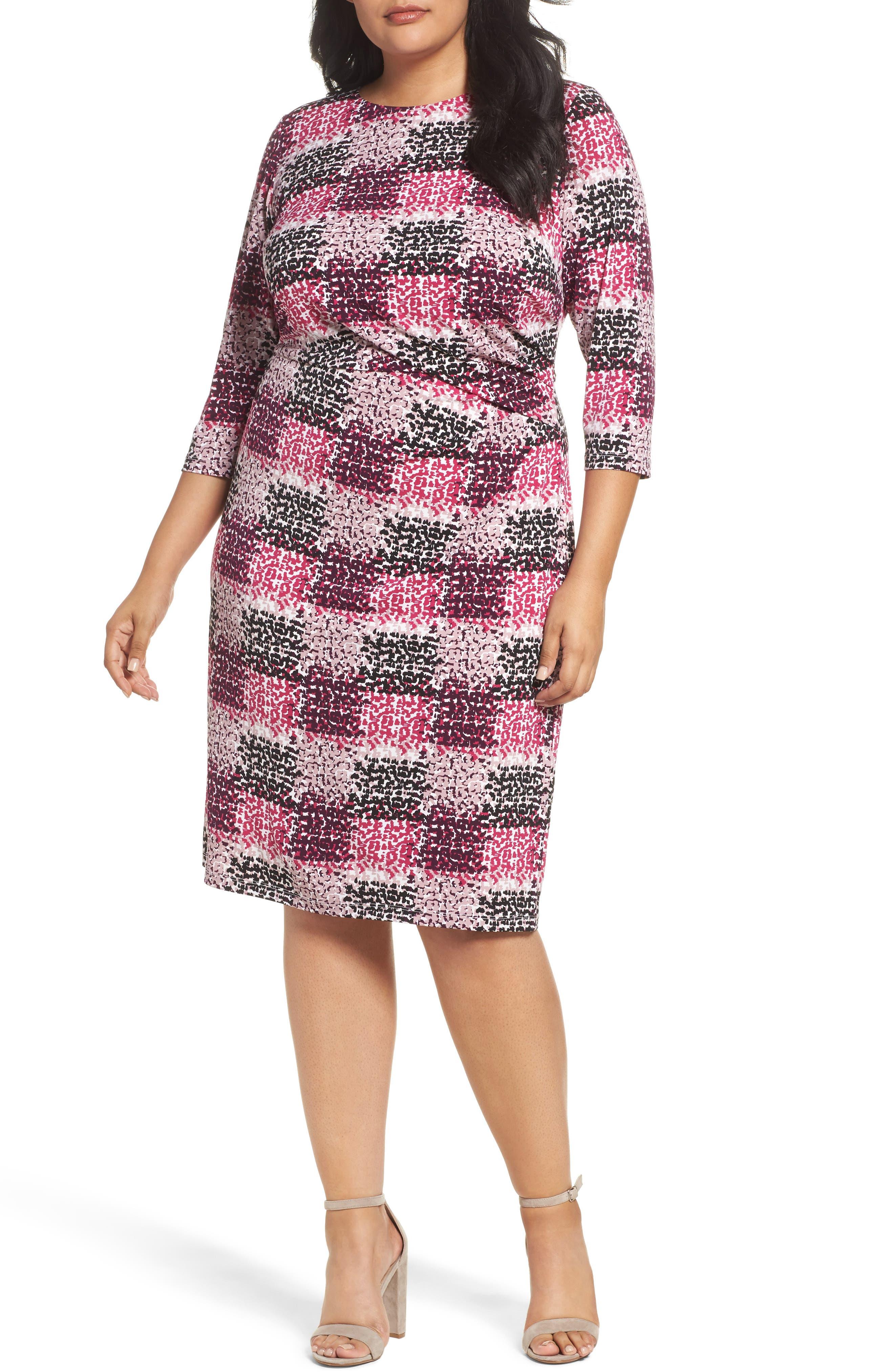 Print Jersey Side Tuck Sheath Dress,                         Main,                         color, Berry Multi