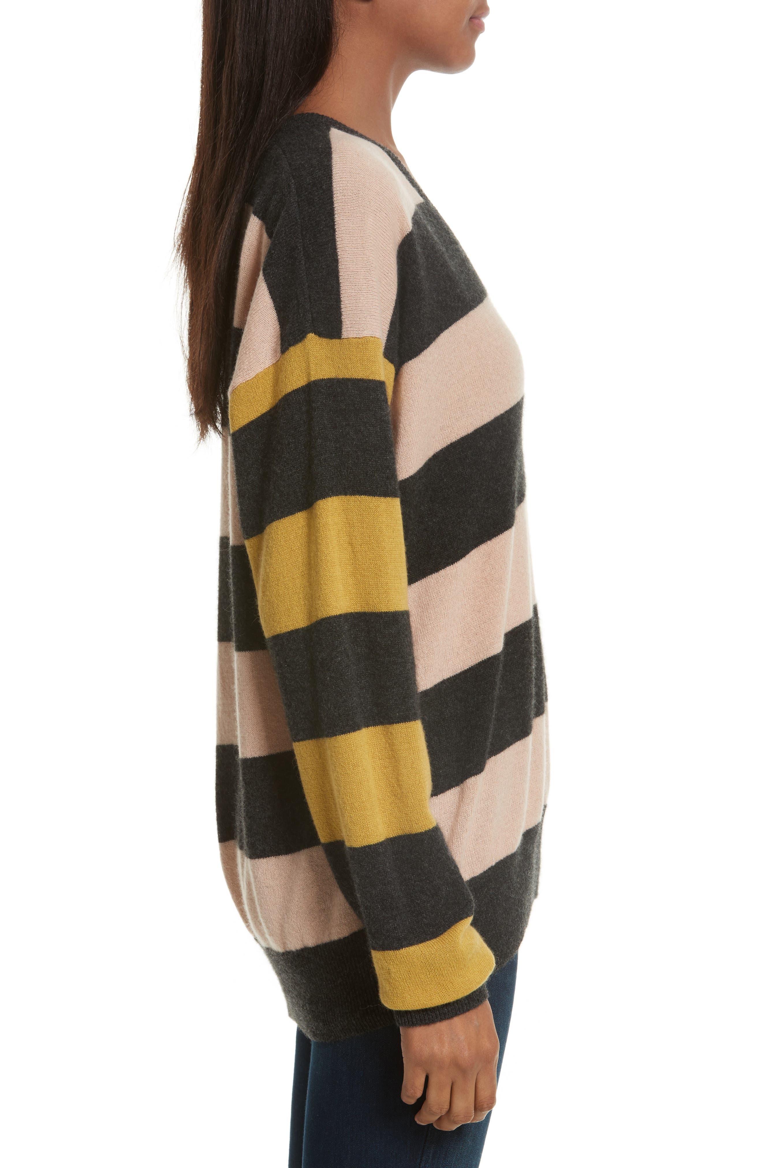 Lucinda Stripe Cashmere Sweater,                             Alternate thumbnail 3, color,                             French Nude