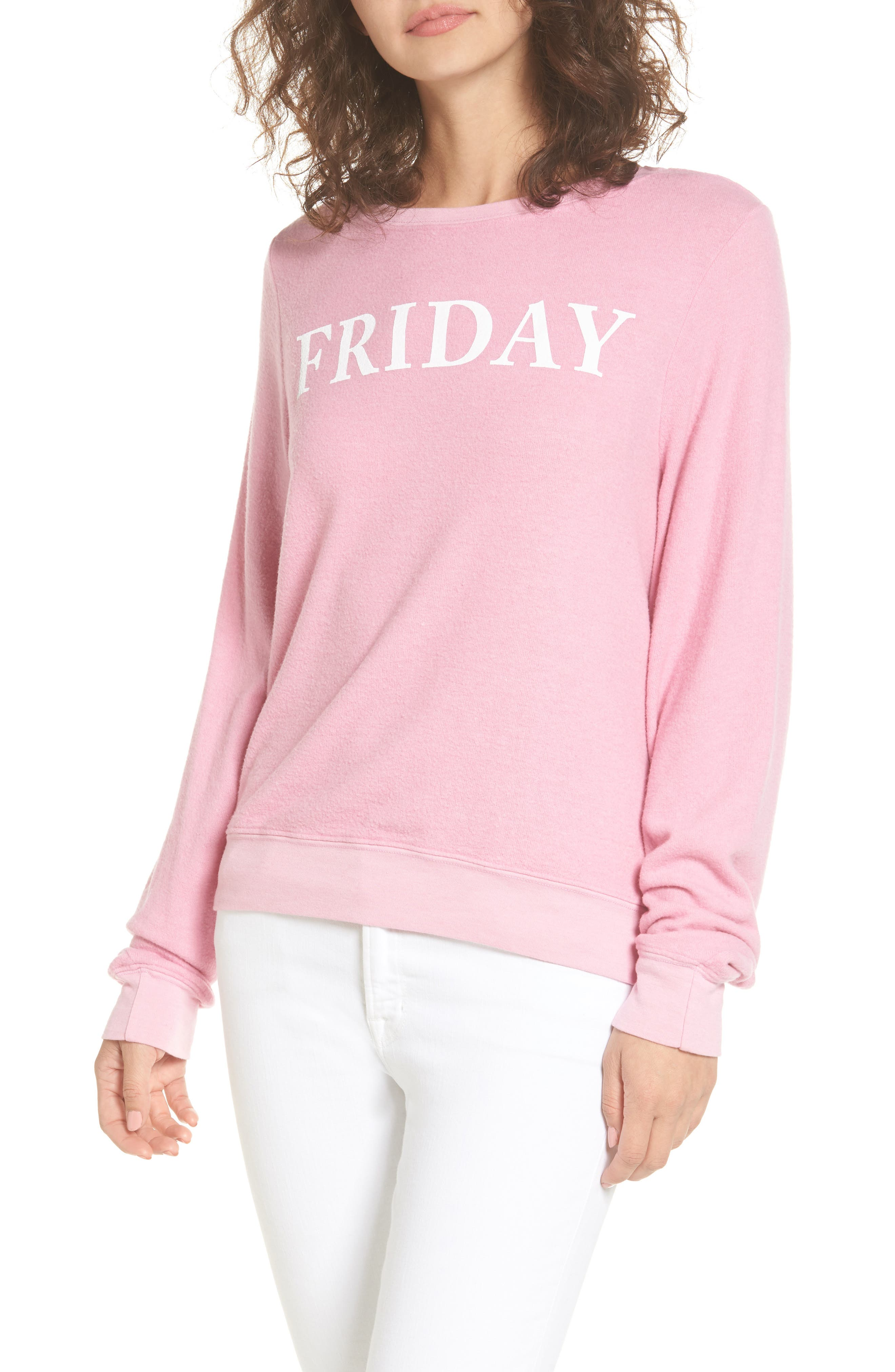 Friday Sweatshirt,                         Main,                         color, Pink