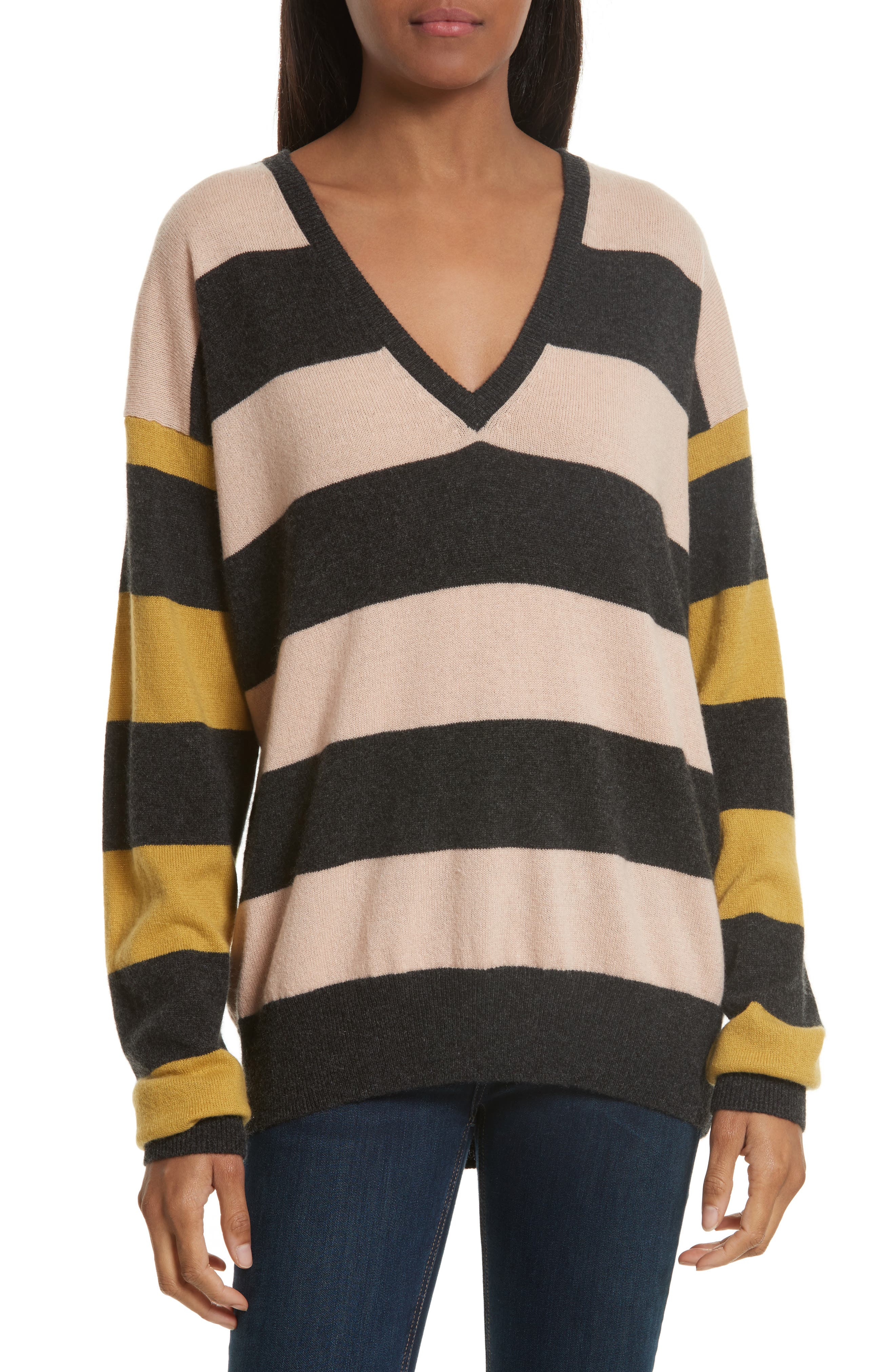 Lucinda Stripe Cashmere Sweater,                             Main thumbnail 1, color,                             French Nude