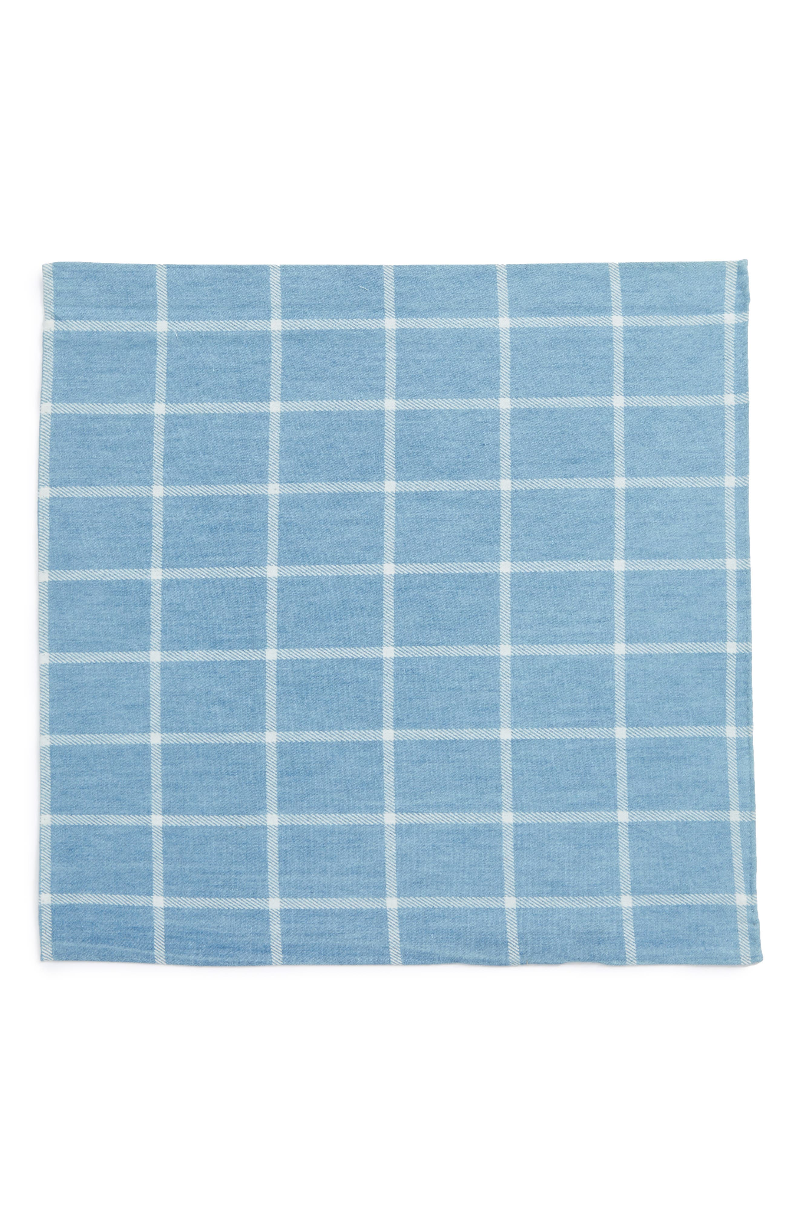 Sergi Check Cotton Pocket Square,                             Alternate thumbnail 3, color,                             Blue