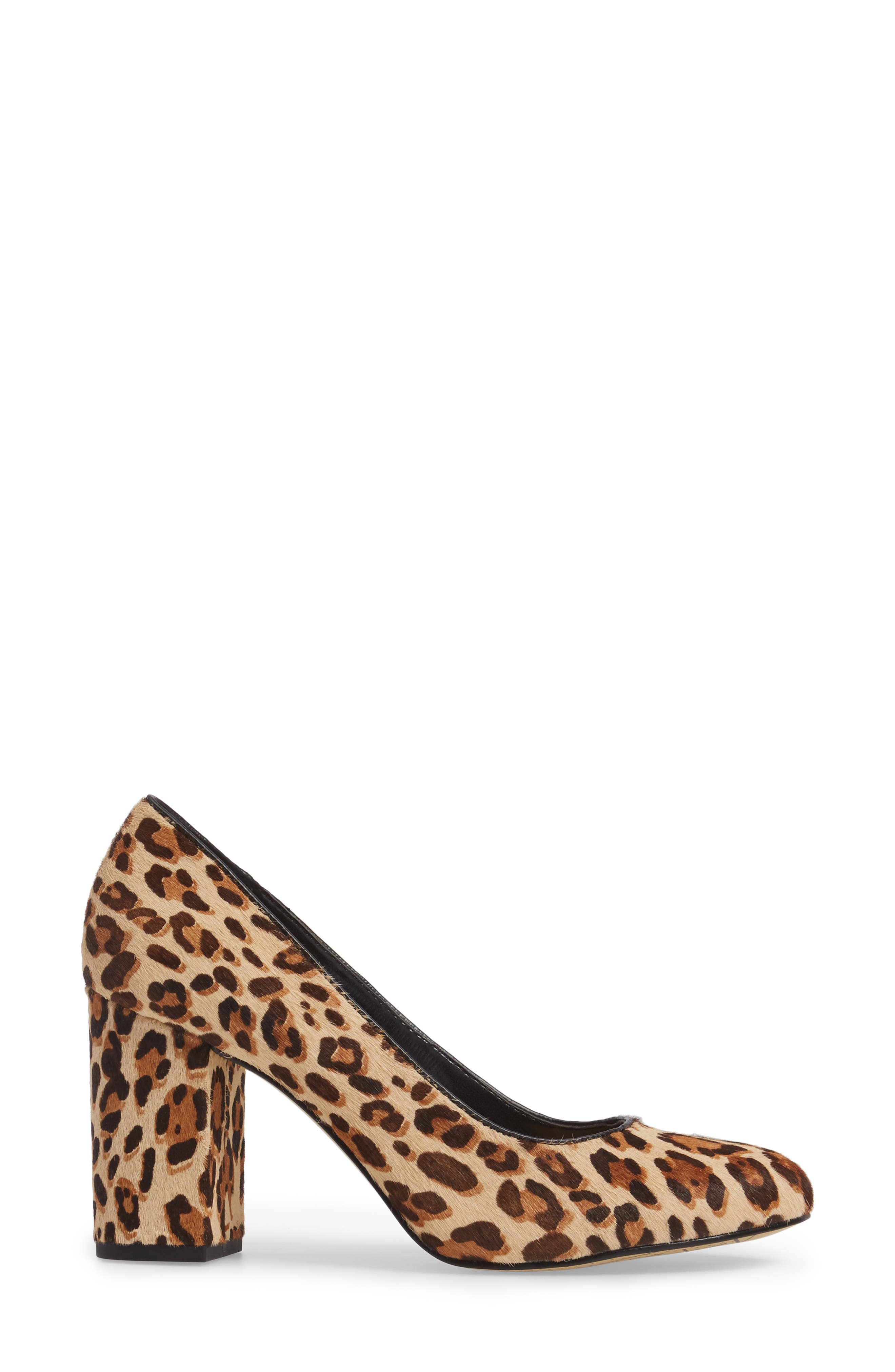 'Nara' Block Heel Pump,                             Alternate thumbnail 3, color,                             Leopard Pony Calf Hair