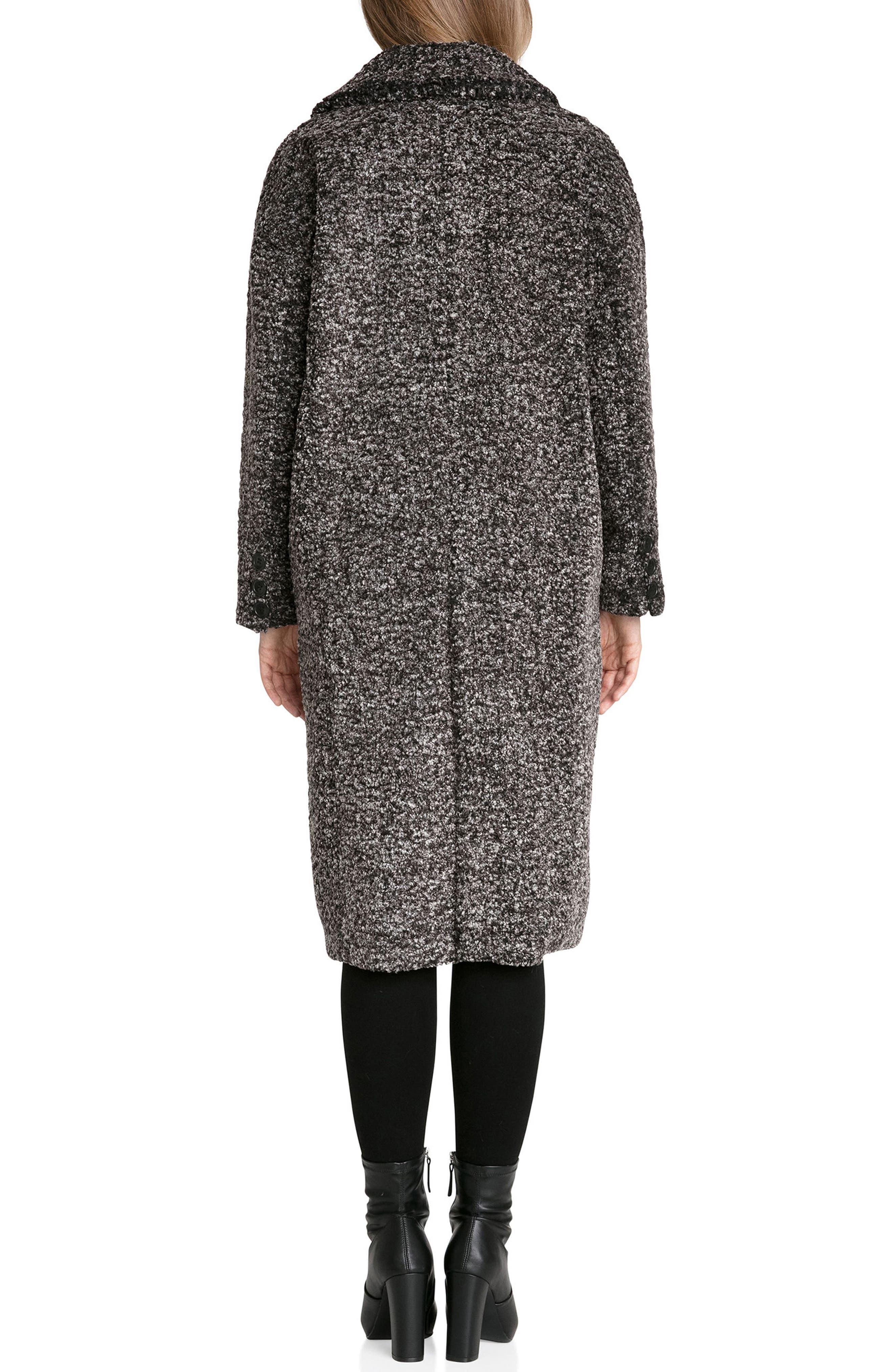 Fleece Bouclé Cocoon Coat,                             Alternate thumbnail 3, color,                             Black/ White Melange