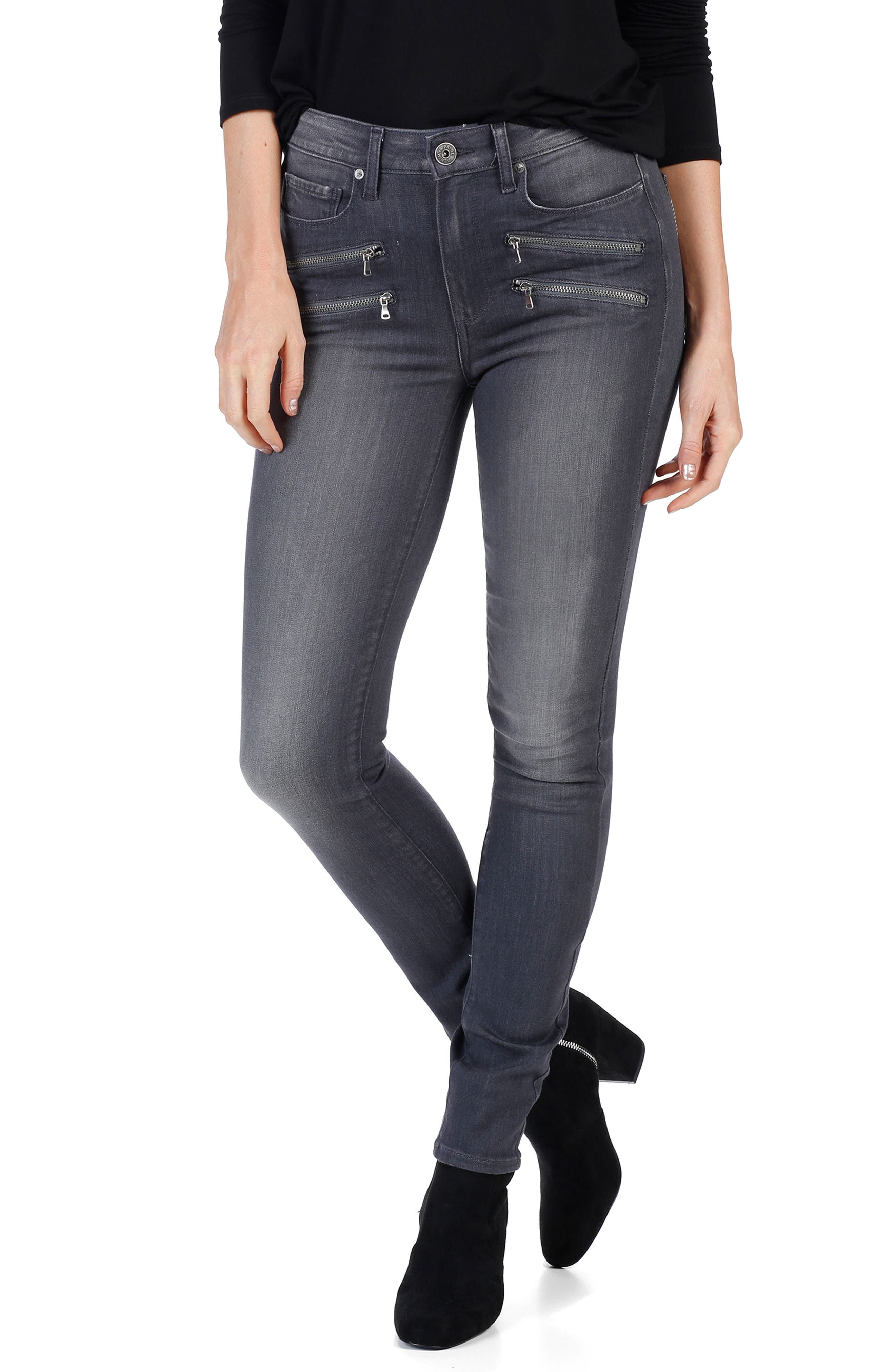Main Image - PAIGE Transcend - Edgemont High Waist Skinny Jeans (Summit Grey)