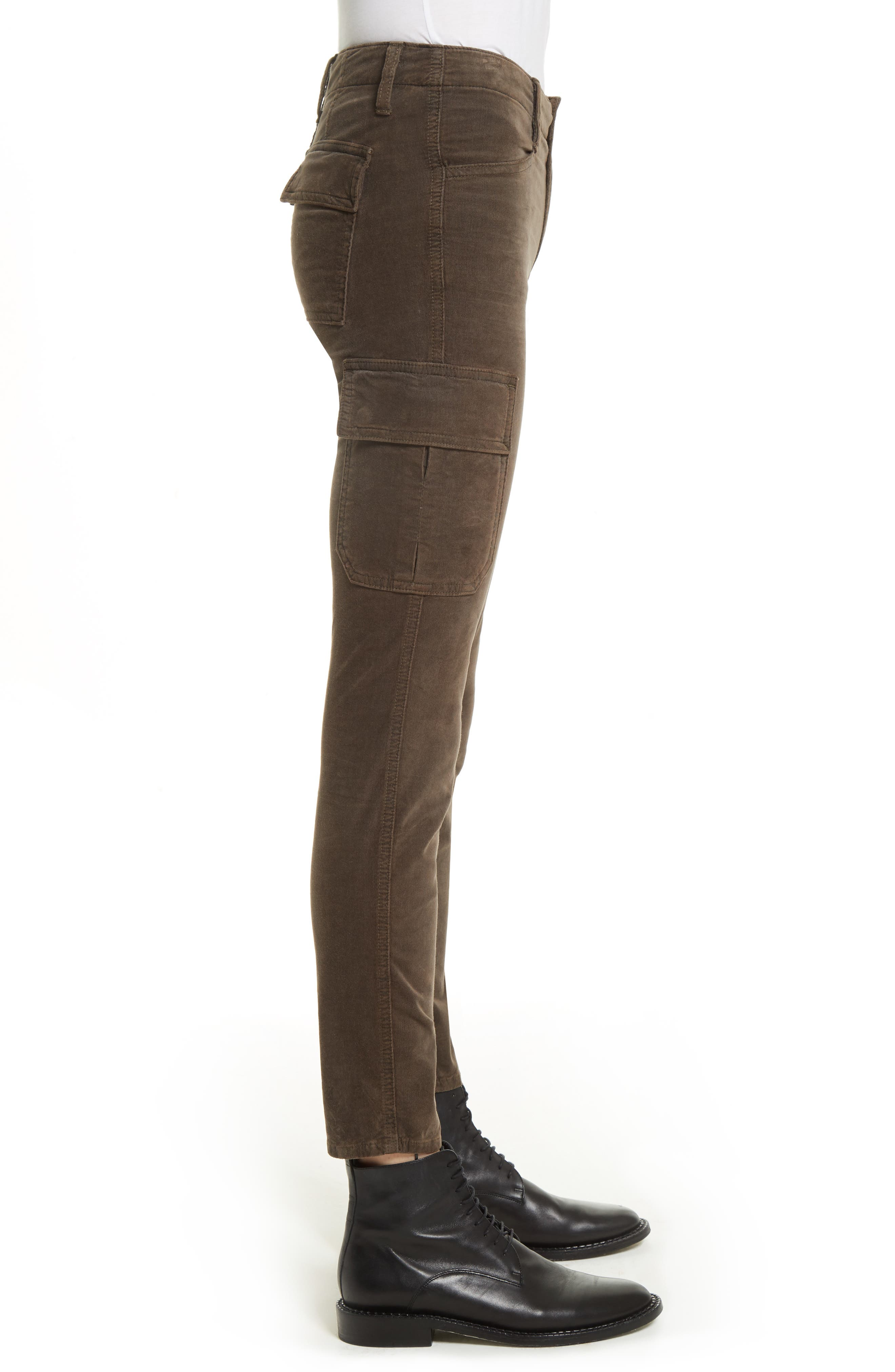Skinny Corduroy Cargo Pants,                             Alternate thumbnail 4, color,                             Olive