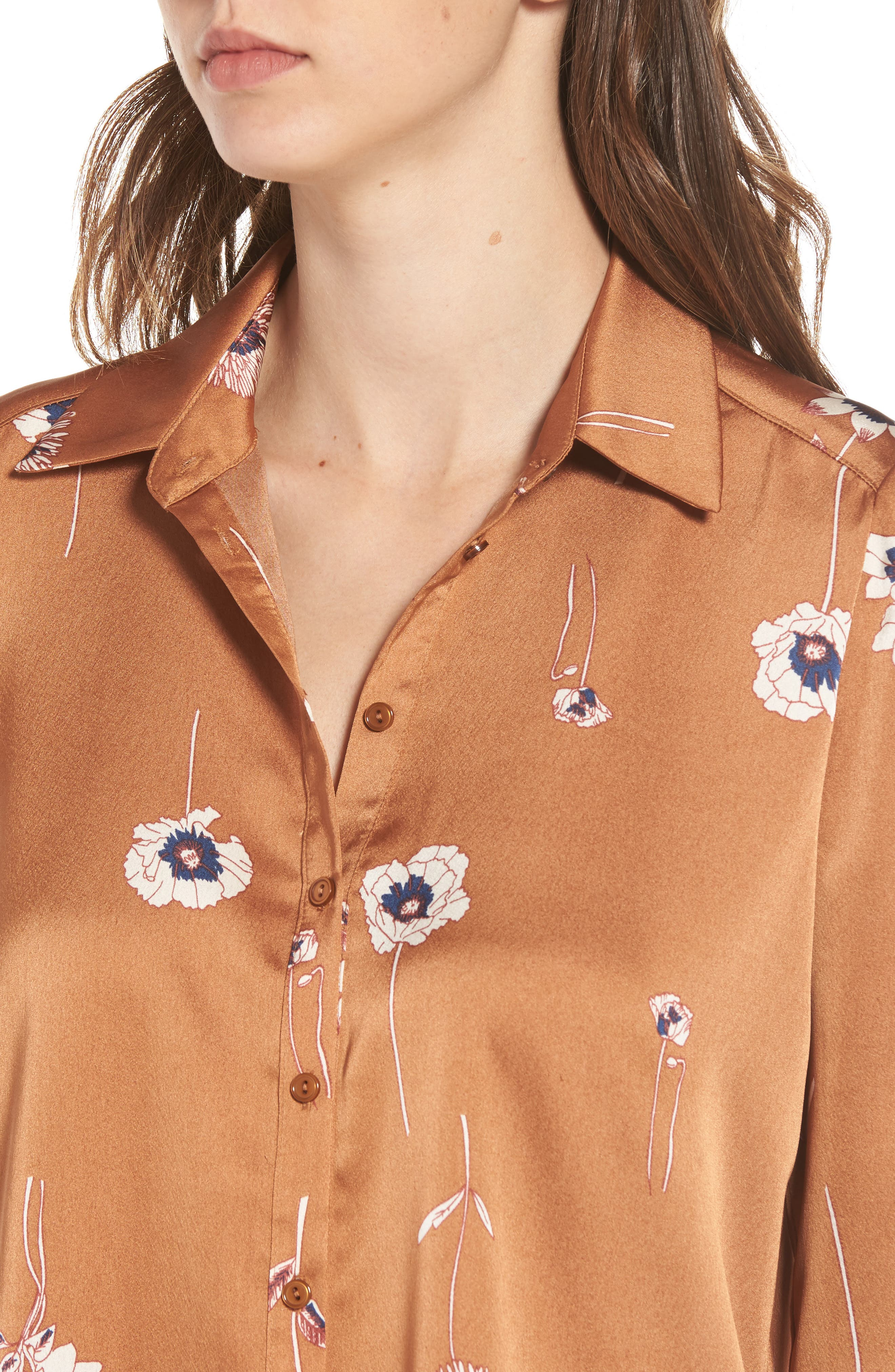 Madison Blouse,                             Alternate thumbnail 4, color,                             Bronze Floral