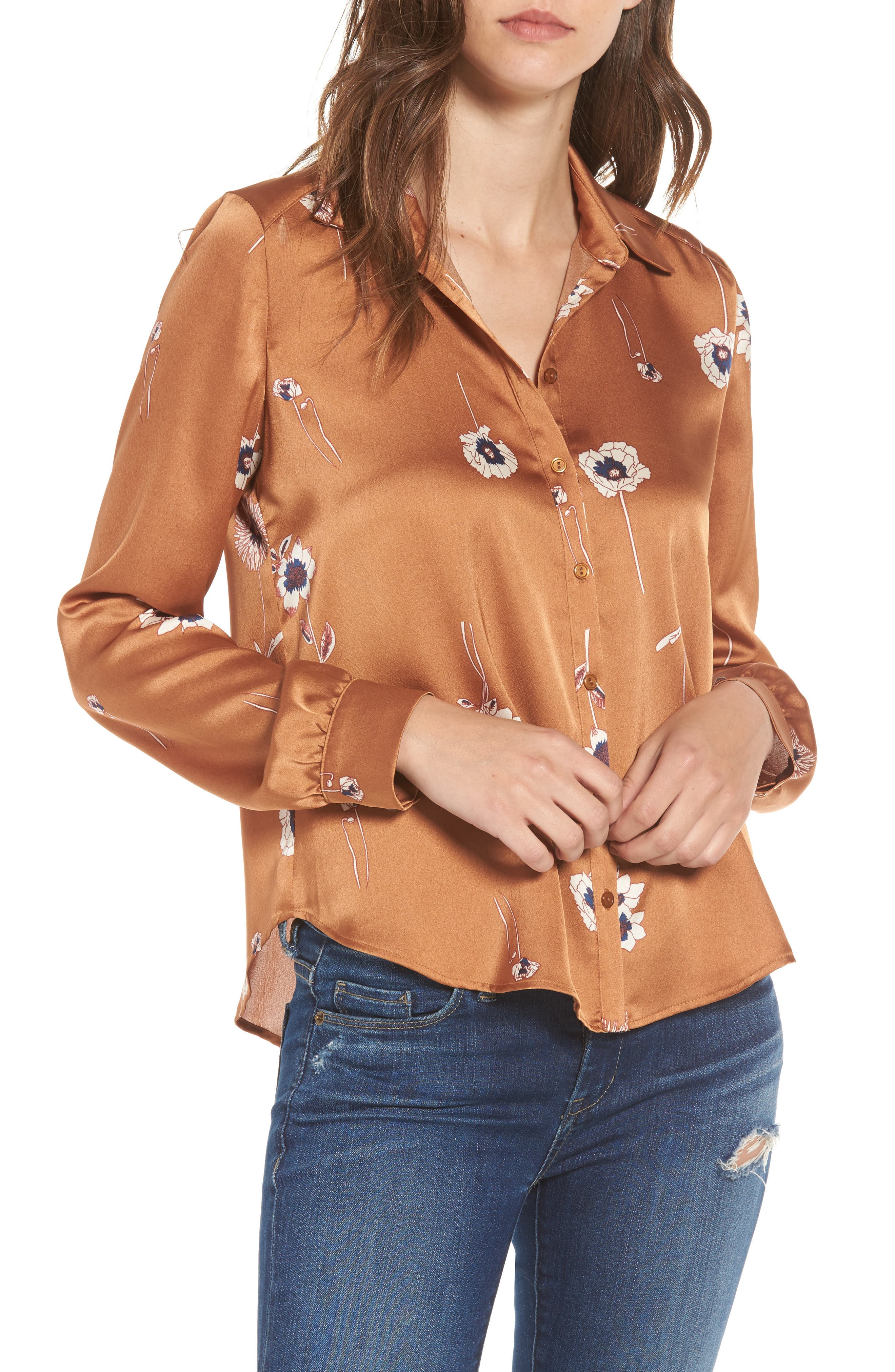 Madison Blouse,                         Main,                         color, Bronze Floral