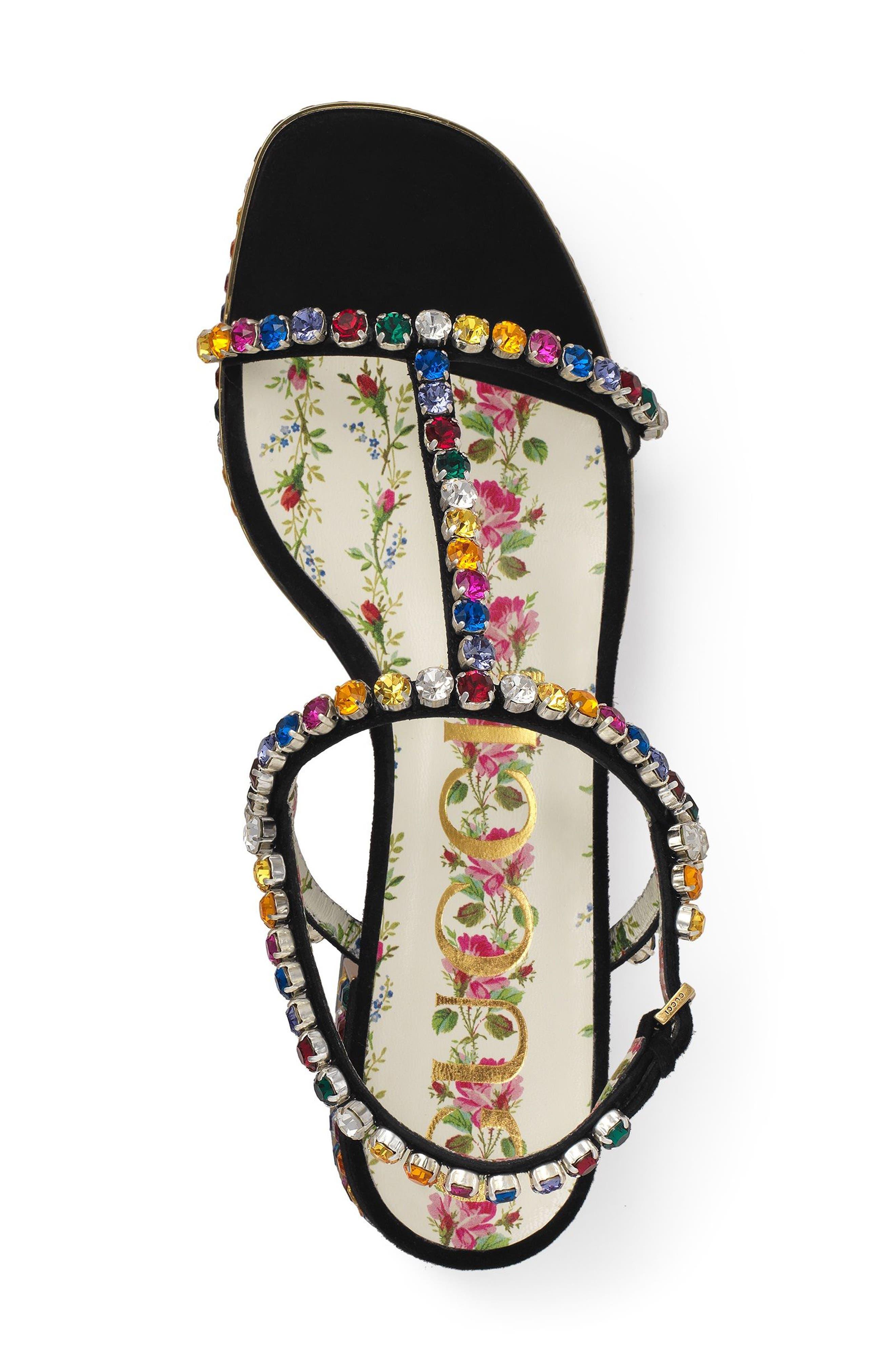 Mira Crystal Embellished Platform Sandal,                             Alternate thumbnail 3, color,                             Black Multi