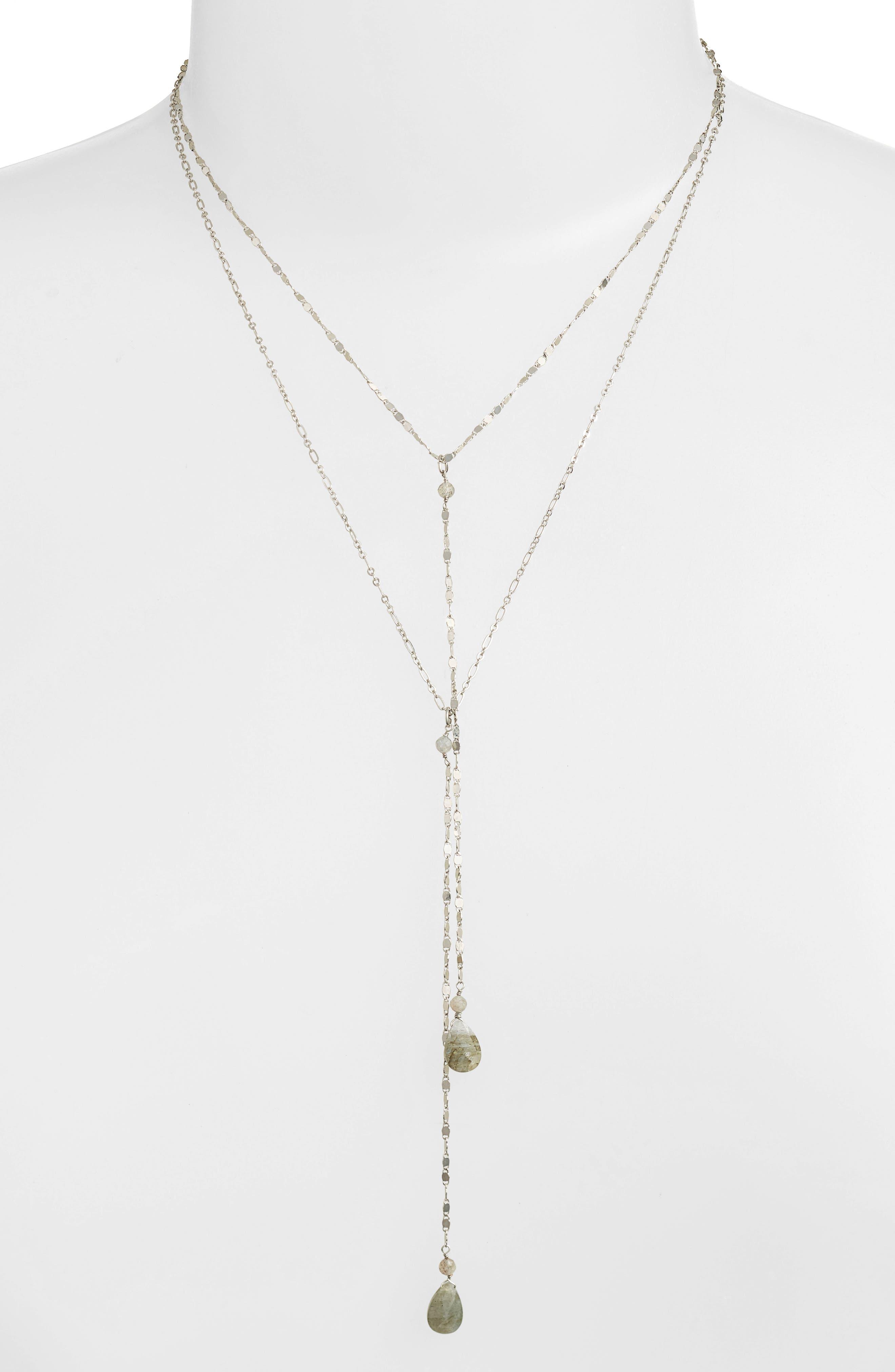 Labradorite Y-Necklace,                             Alternate thumbnail 2, color,                             Silver/ Labradorite