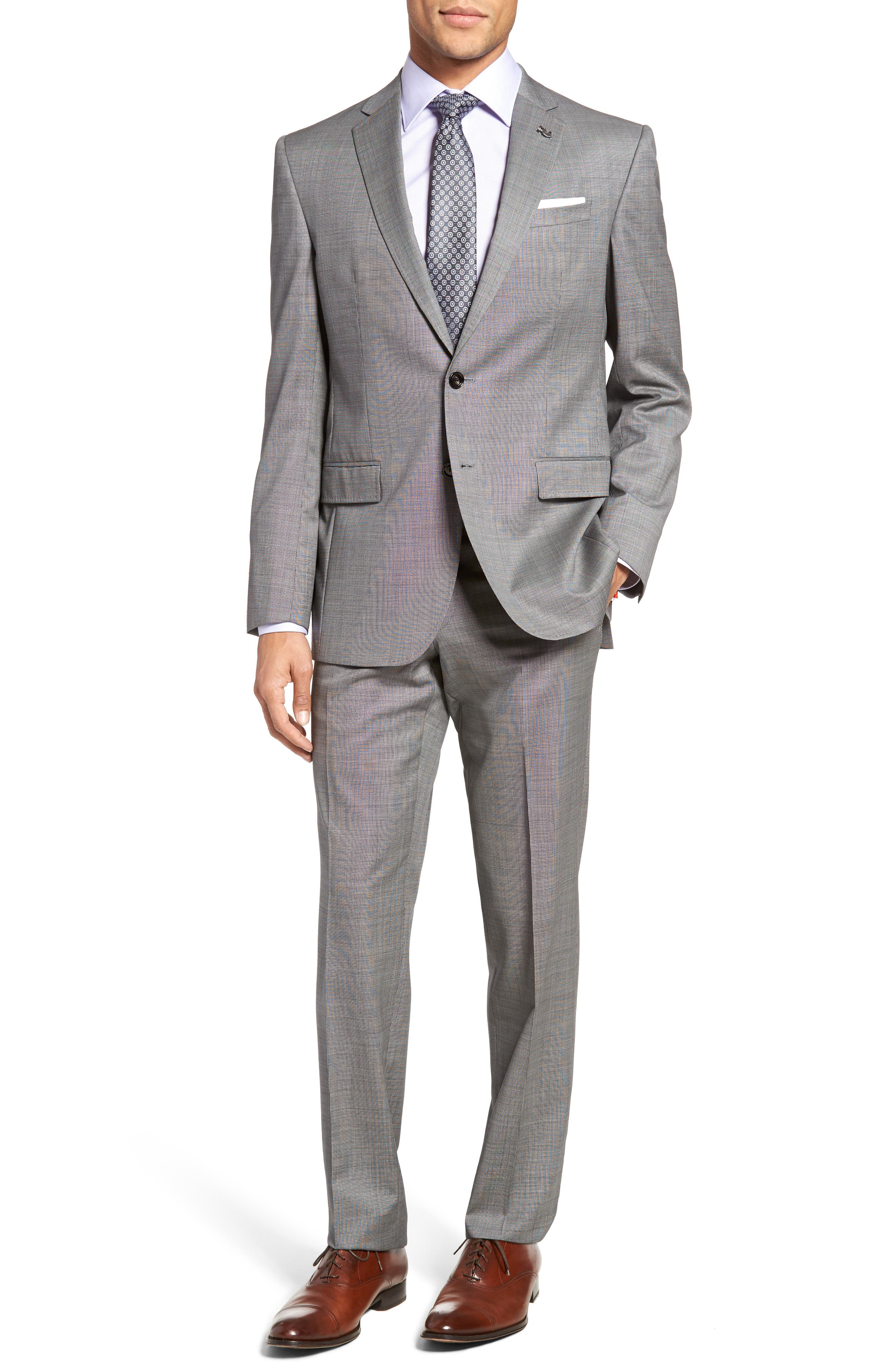 Jay Trim Fit Solid Wool Suit,                         Main,                         color, Light Grey