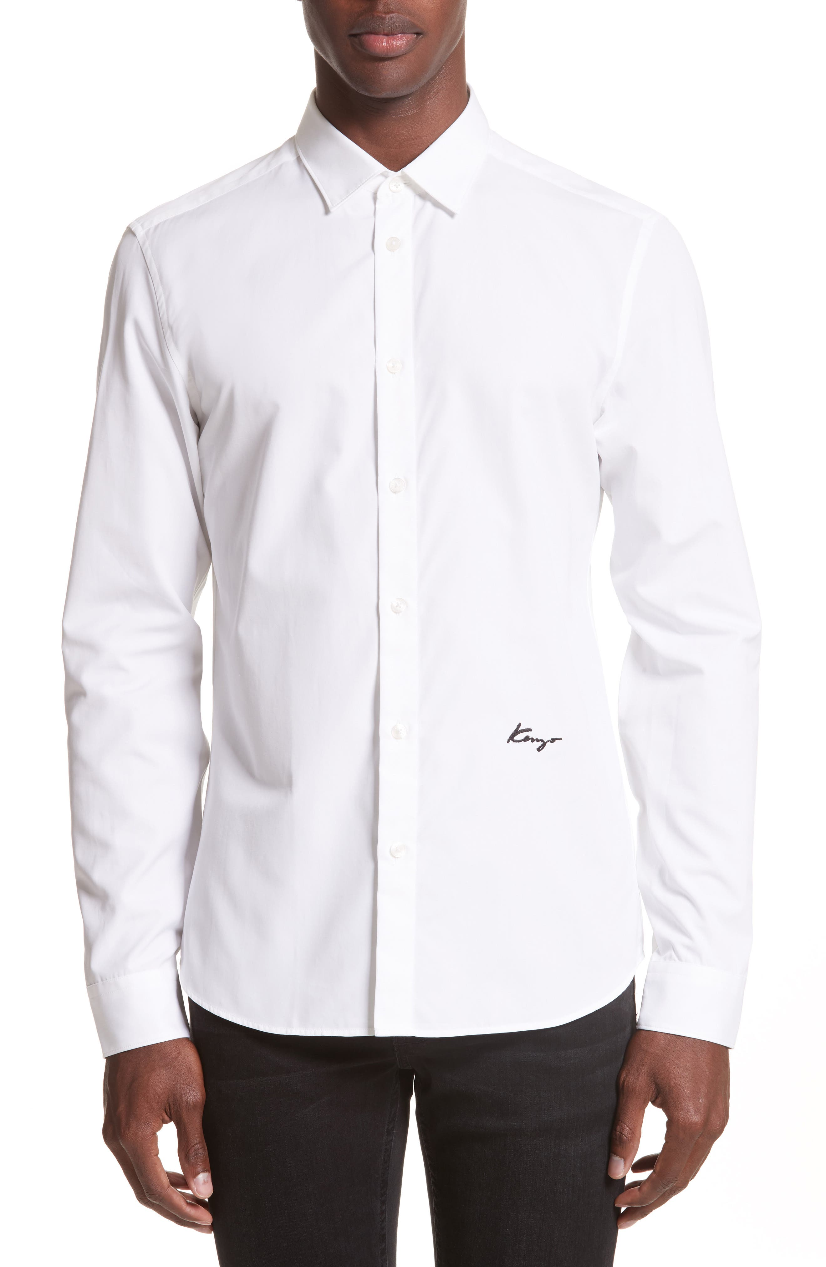 Slim Fit Embroidered Shirt,                             Main thumbnail 1, color,                             White