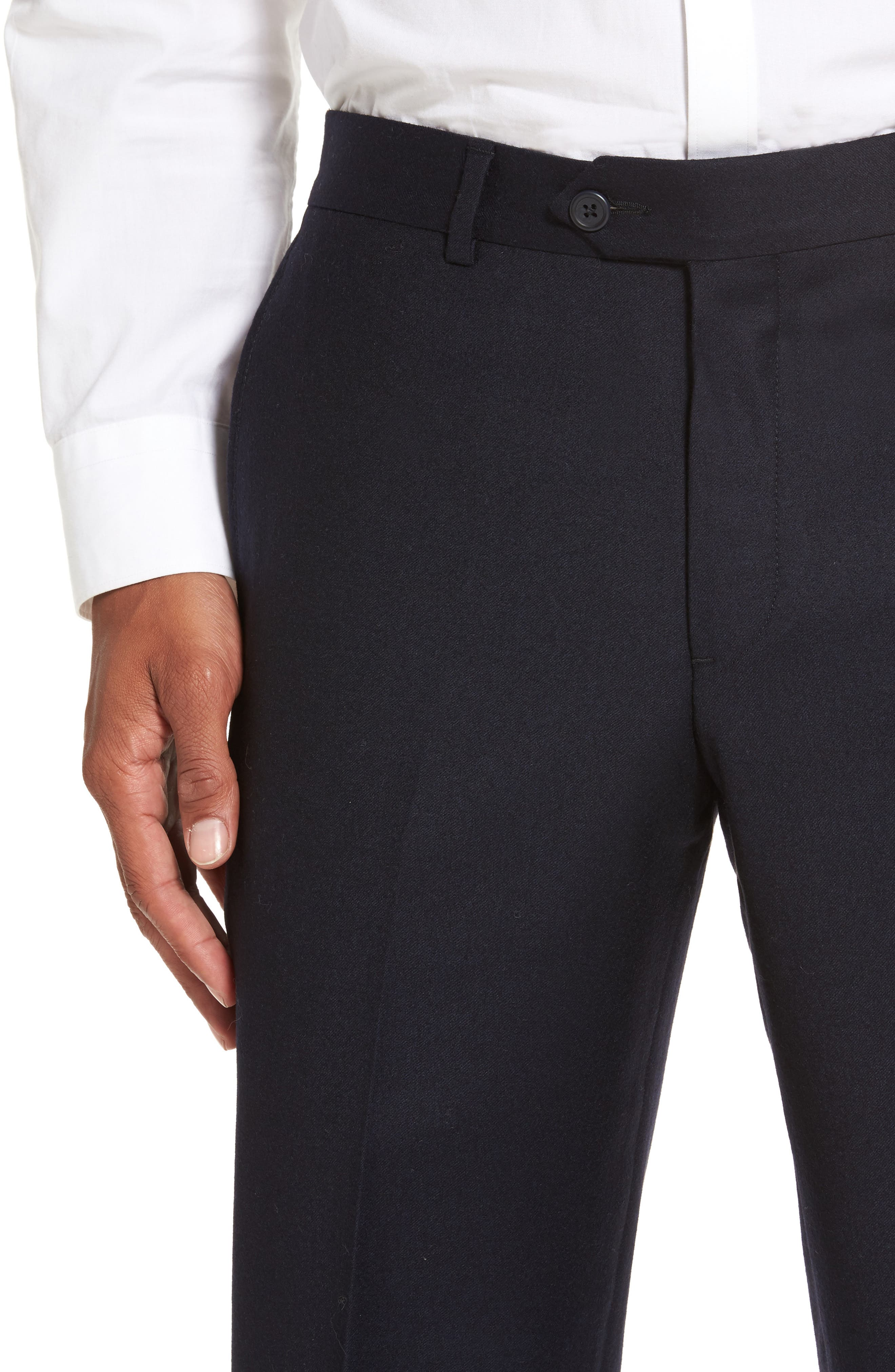 Flat Front Solid Wool Trousers,                             Alternate thumbnail 3, color,                             Navy