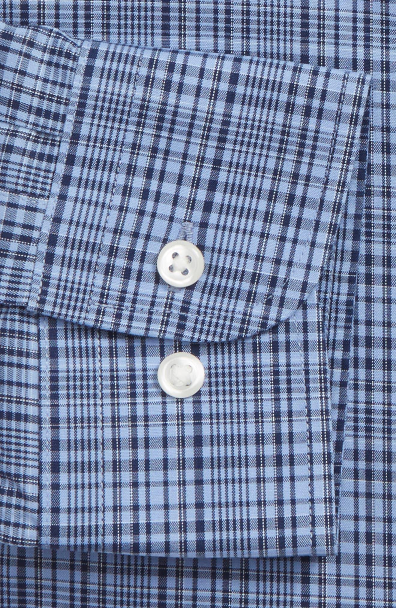 Smartcare<sup>™</sup> Extra Trim Fit Check Dress Shirt,                             Alternate thumbnail 4, color,                             Blue Medieval