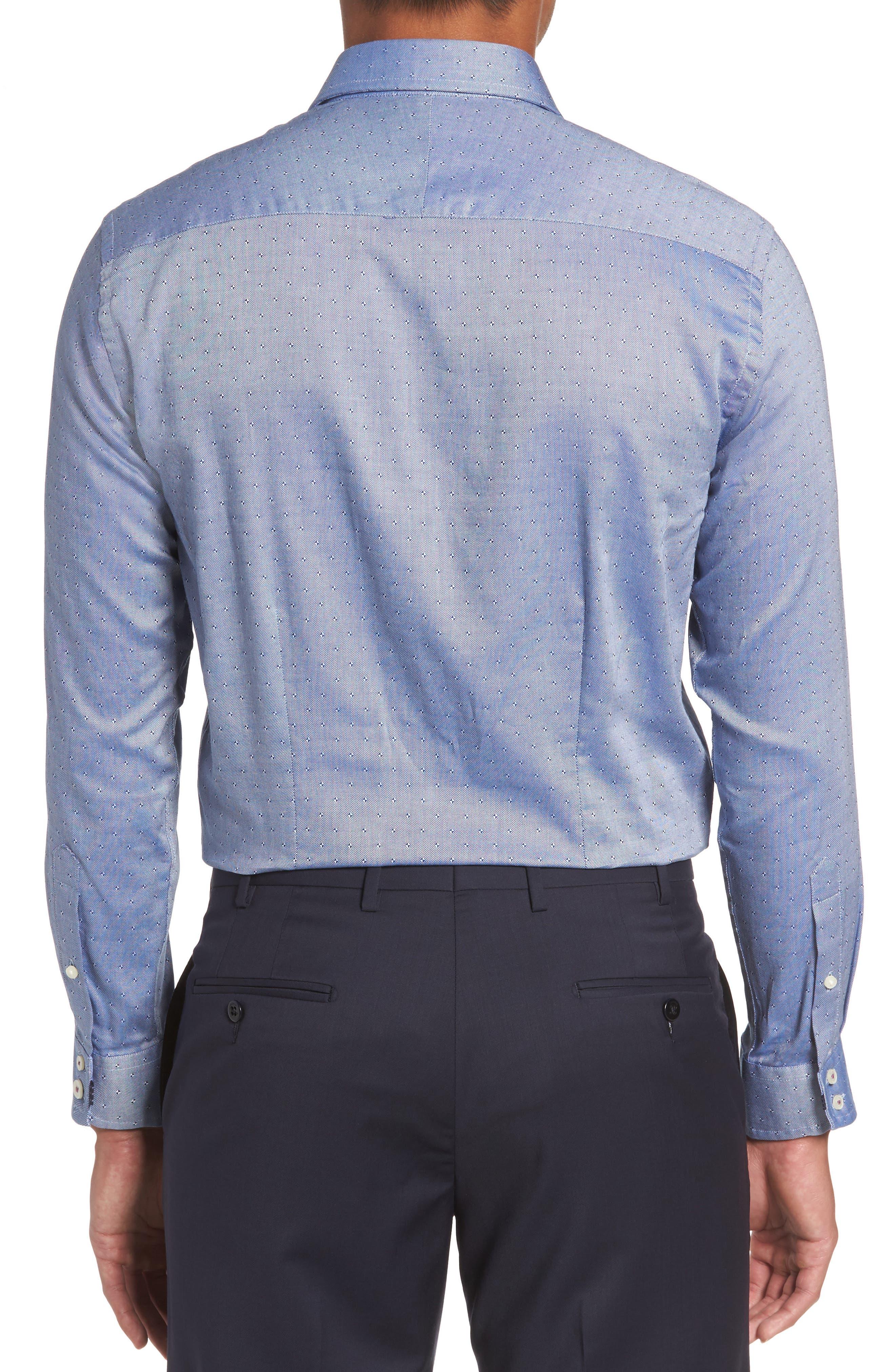 Jamer Trim Fit Dot Dress Shirt,                             Alternate thumbnail 3, color,                             Navy