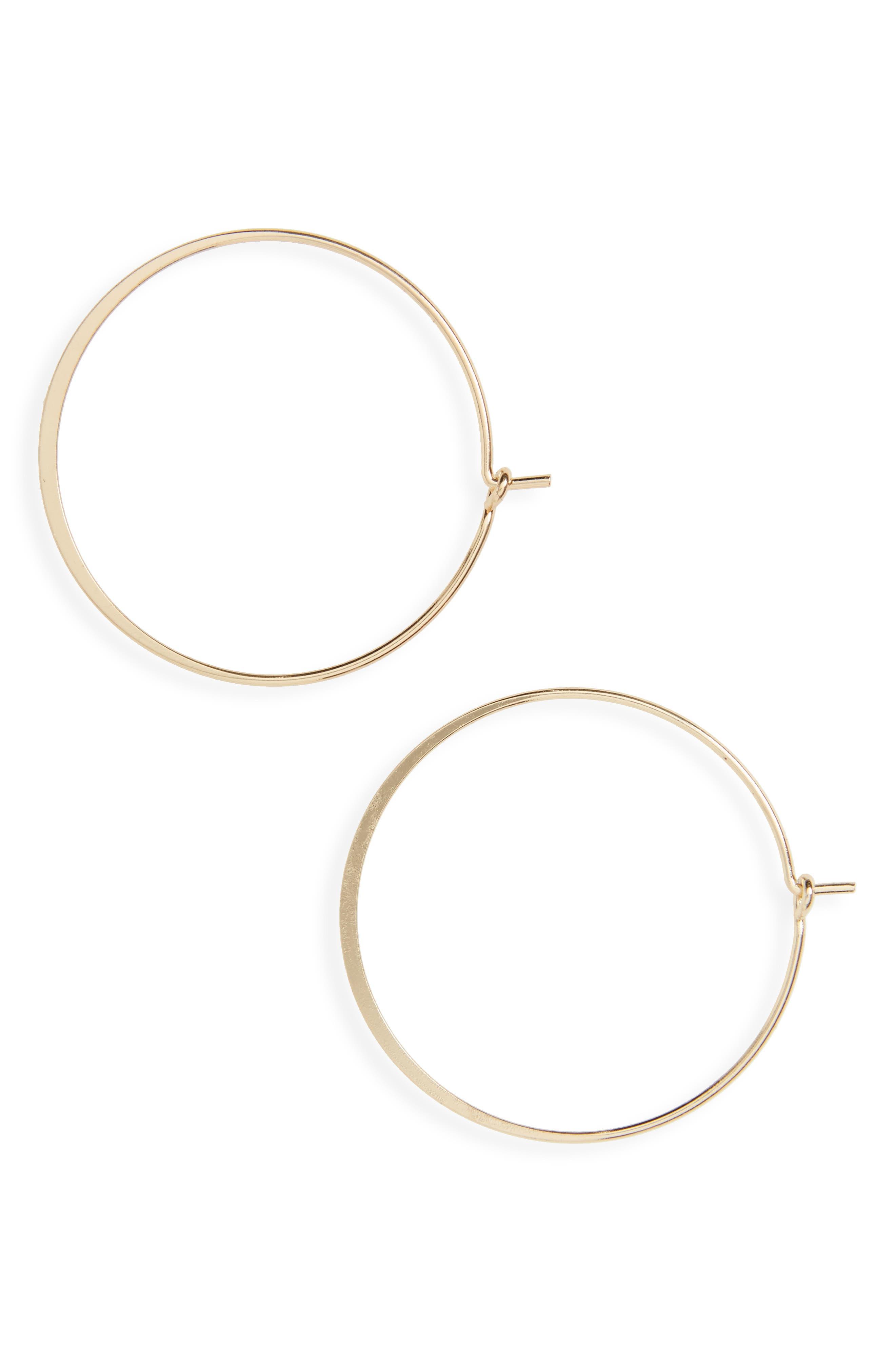 Flat Hoop Earrings,                         Main,                         color, Gold