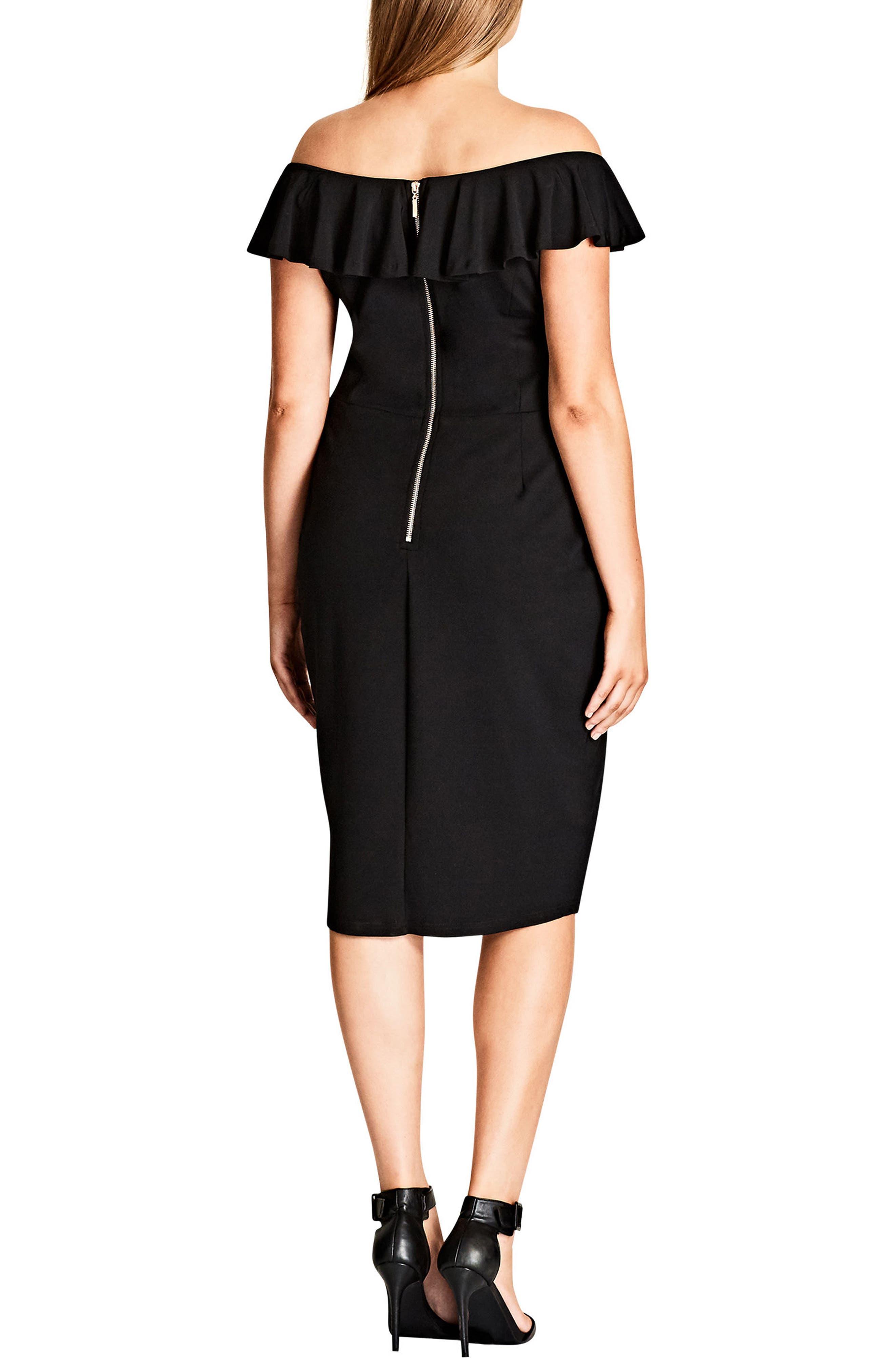 Alternate Image 2  - City Chic Plunge Frill Sheath Dress (Plus Size)