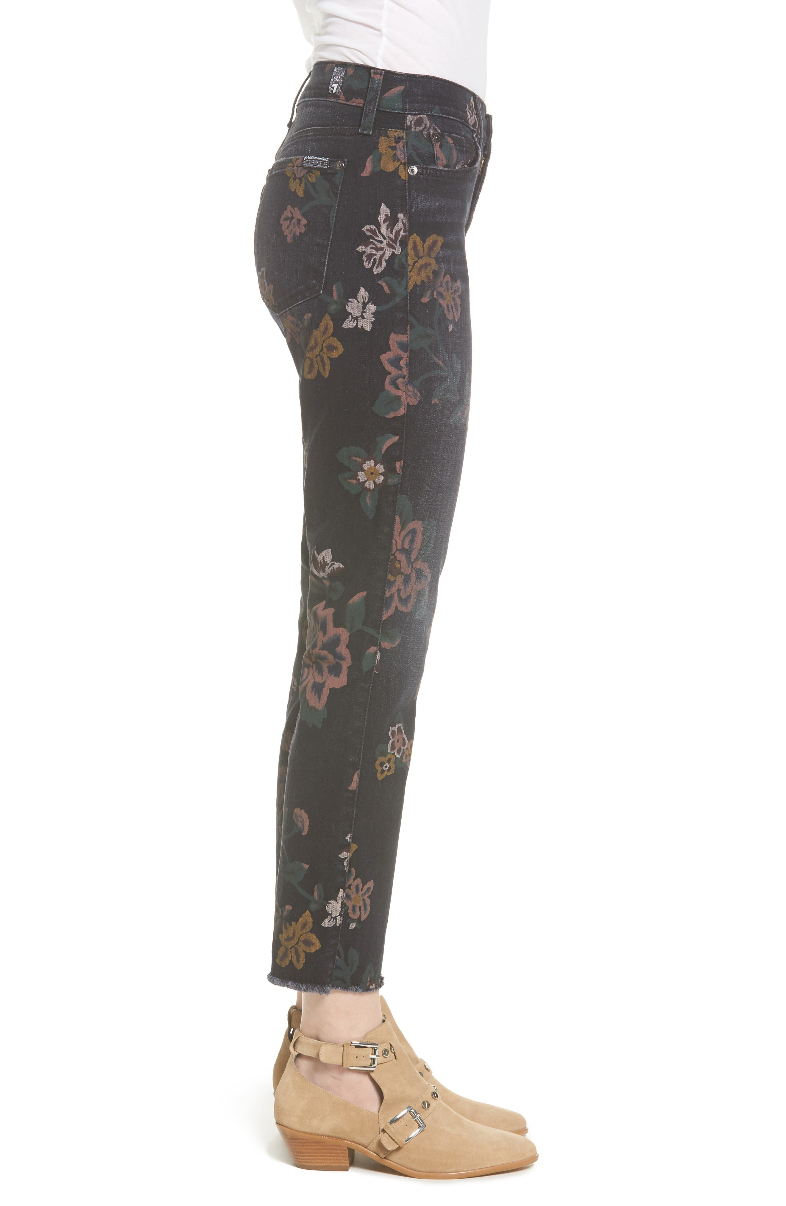 Roxanne Floral Print Ankle Slim Jeans,                             Alternate thumbnail 3, color,                             Print On Noir