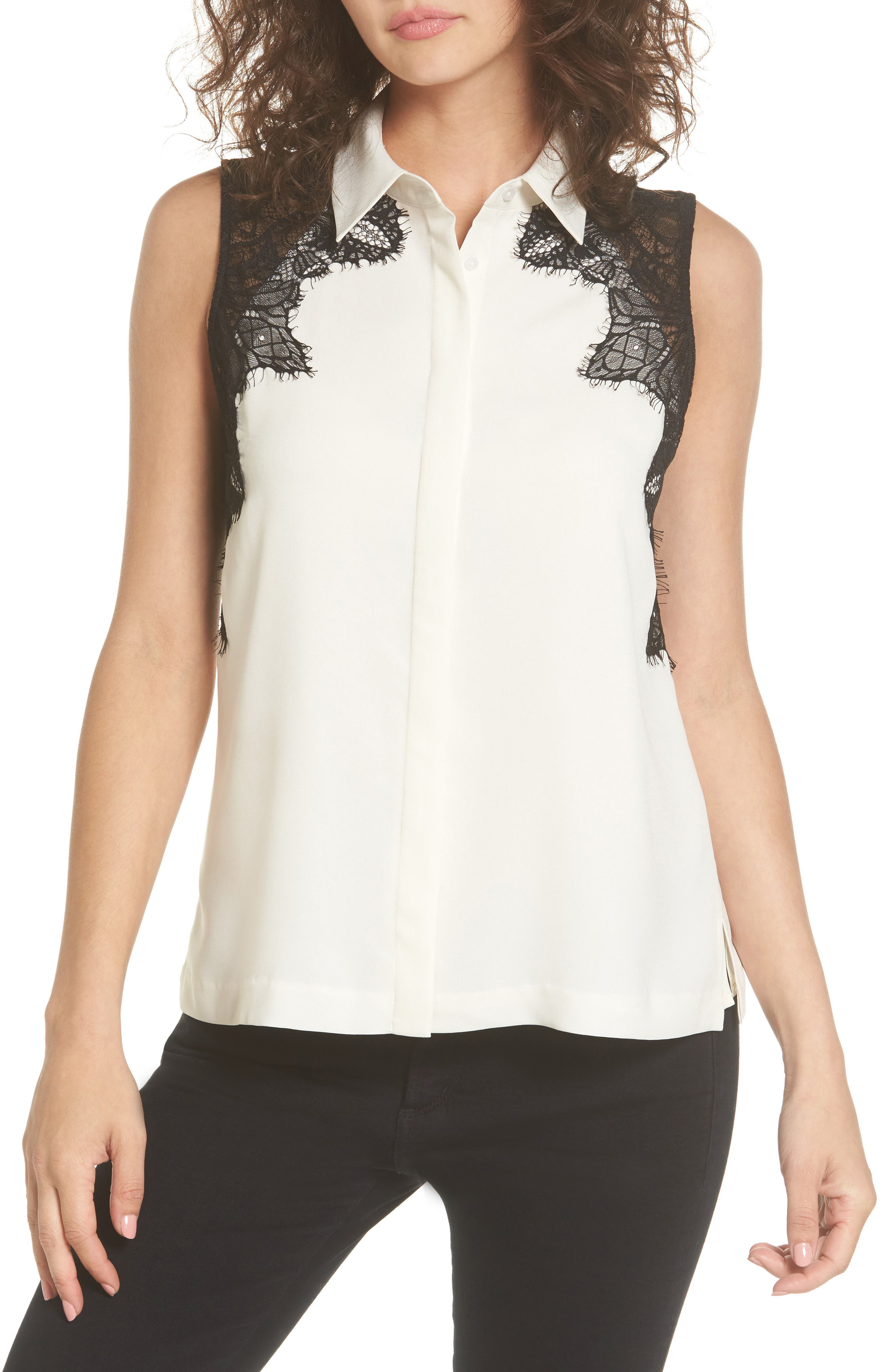 Alternate Image 1 Selected - cooper & ella Vera Lace Sleeveless Blouse