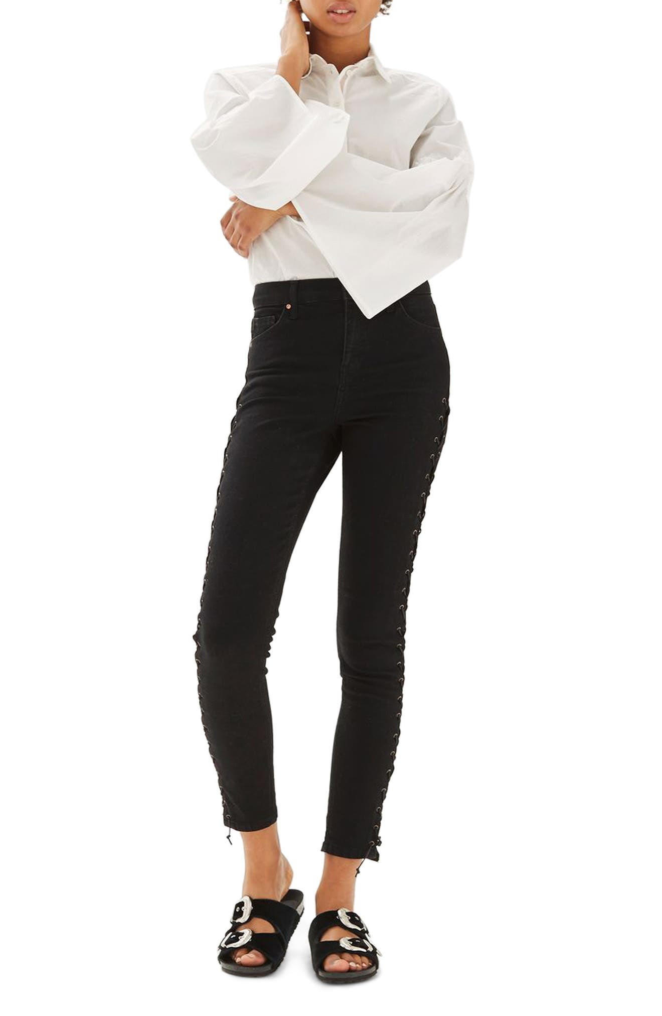 Jamie Lace-Up Side Skinny Jeans,                             Main thumbnail 1, color,                             Black