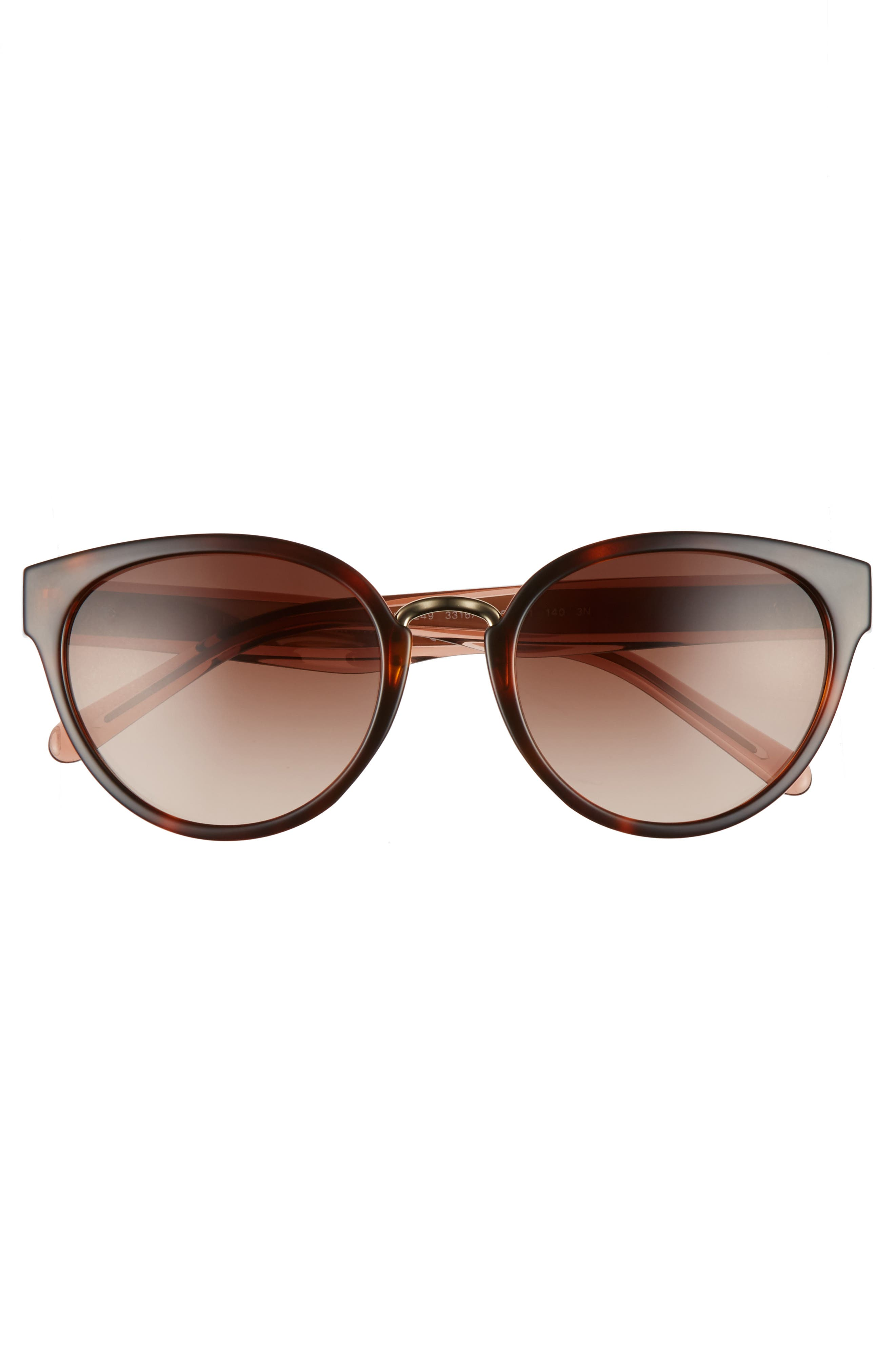 53mm Gradient Cat Eye Sunglasses,                             Alternate thumbnail 3, color,                             Brown Havana