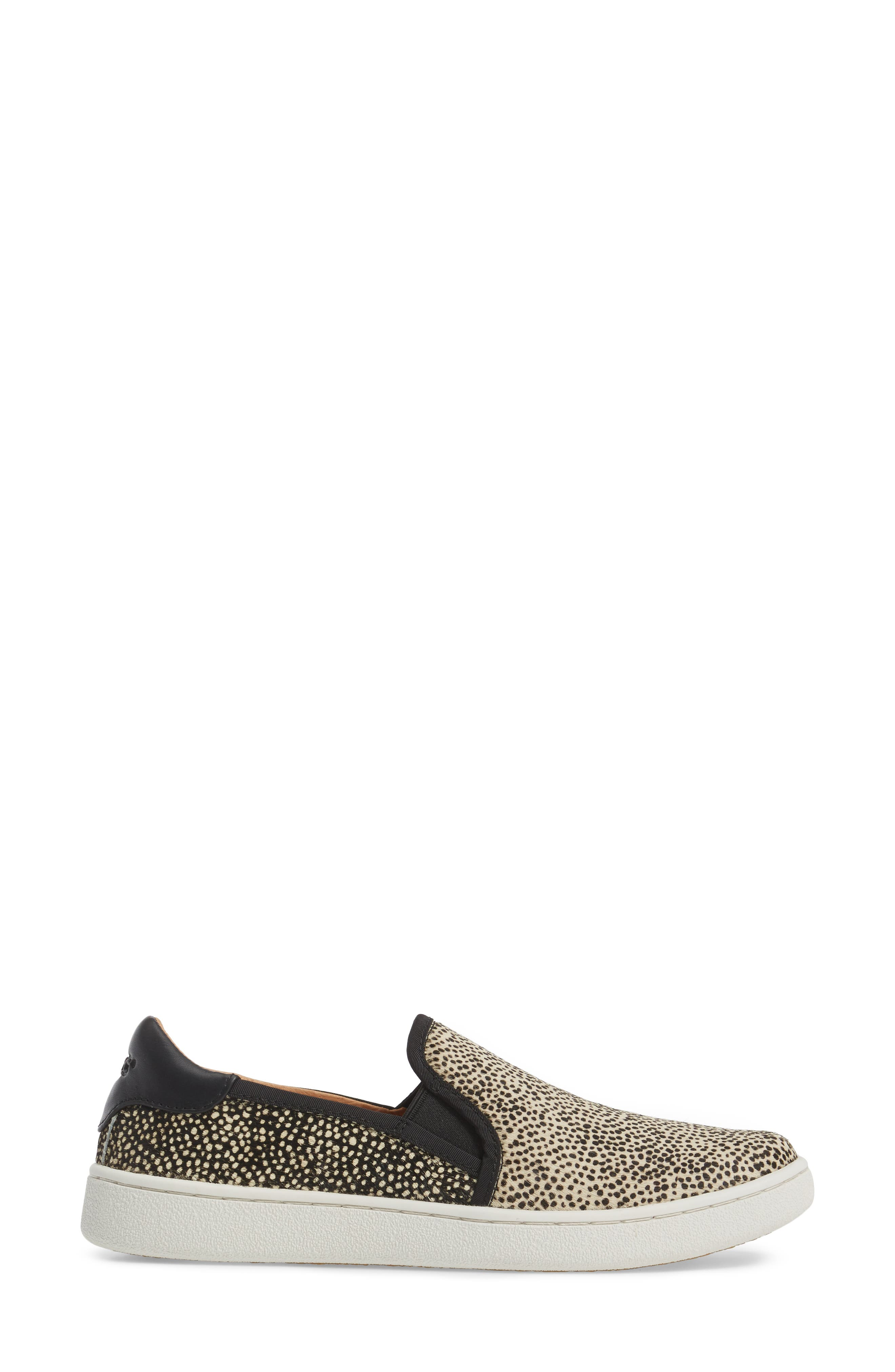 Cas Exotic Genuine Calf Hair Slip-On Sneaker,                             Alternate thumbnail 3, color,                             Black/ Tan Dotted Leather