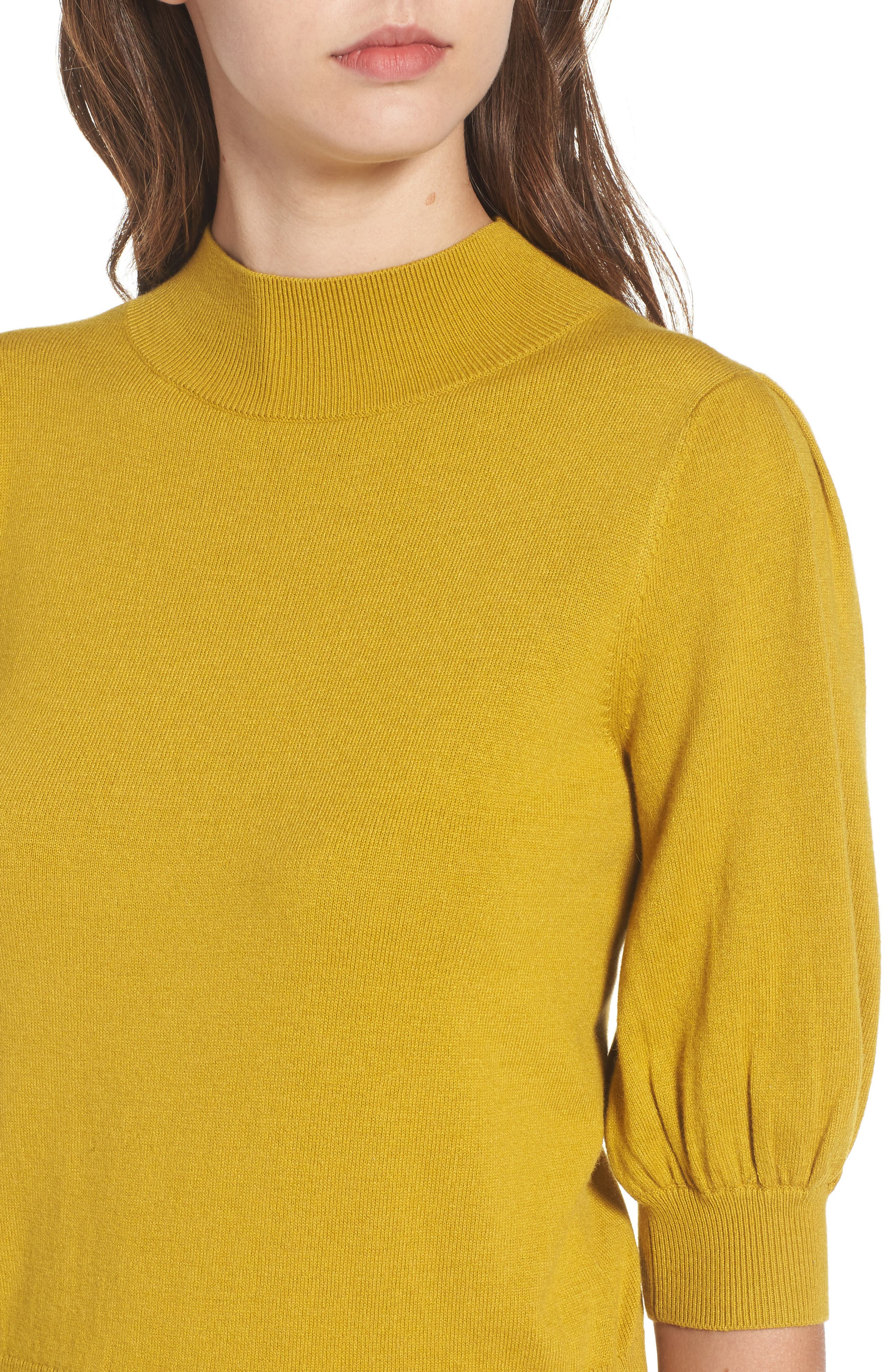 Puff Sleeve Sweater,                             Alternate thumbnail 4, color,                             Olive Palm