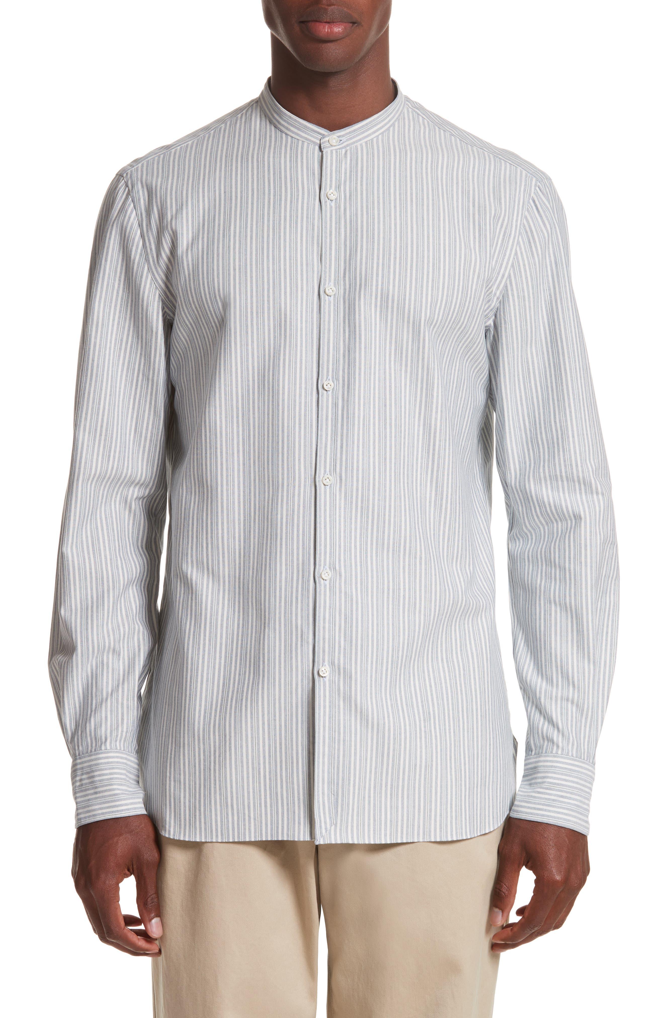 Eidos Napoli Slim Fit Stripe Band Collar Sport Shirt