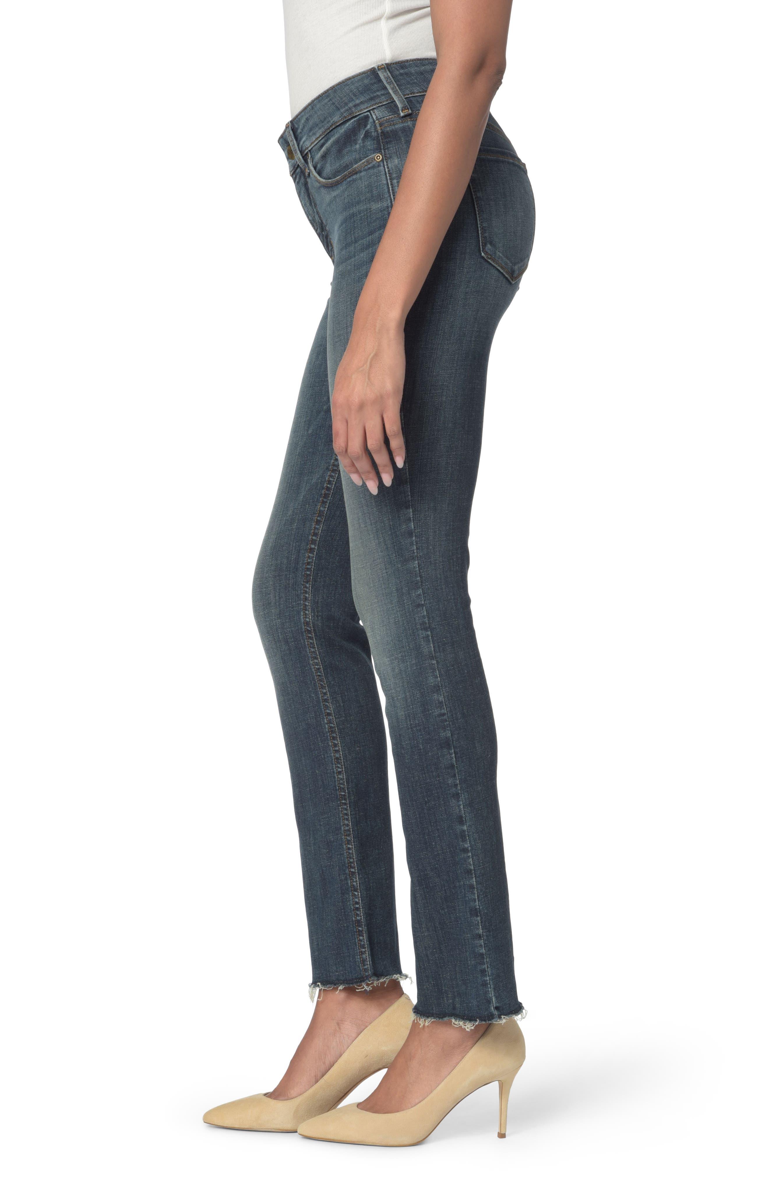 Marilyn Raw Hem Stretch Ankle Straight Leg Jeans,                             Alternate thumbnail 3, color,                             Desert Gold