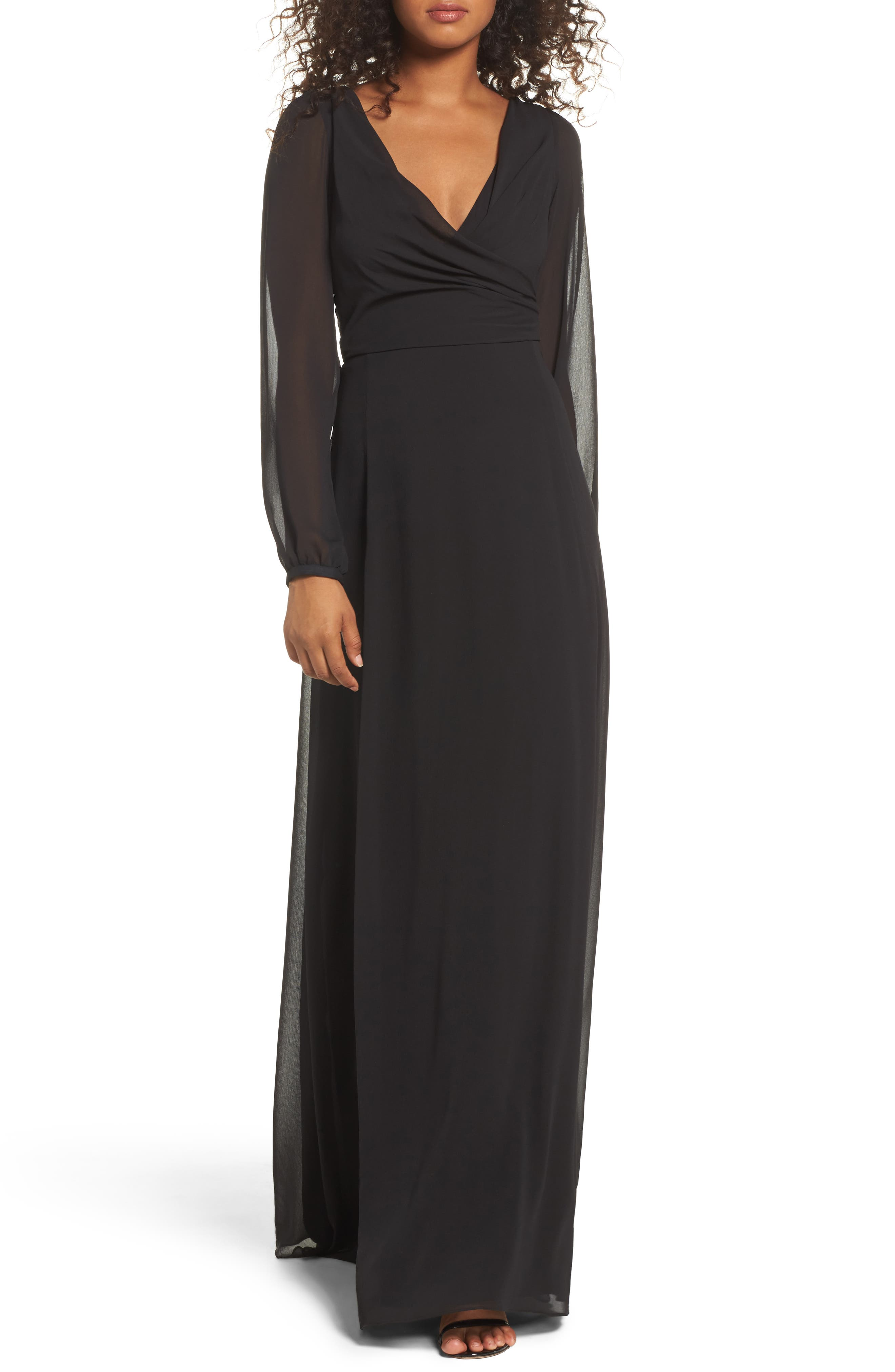 Donna Luxe Chiffon Surplice A-Line Gown,                         Main,                         color, Black