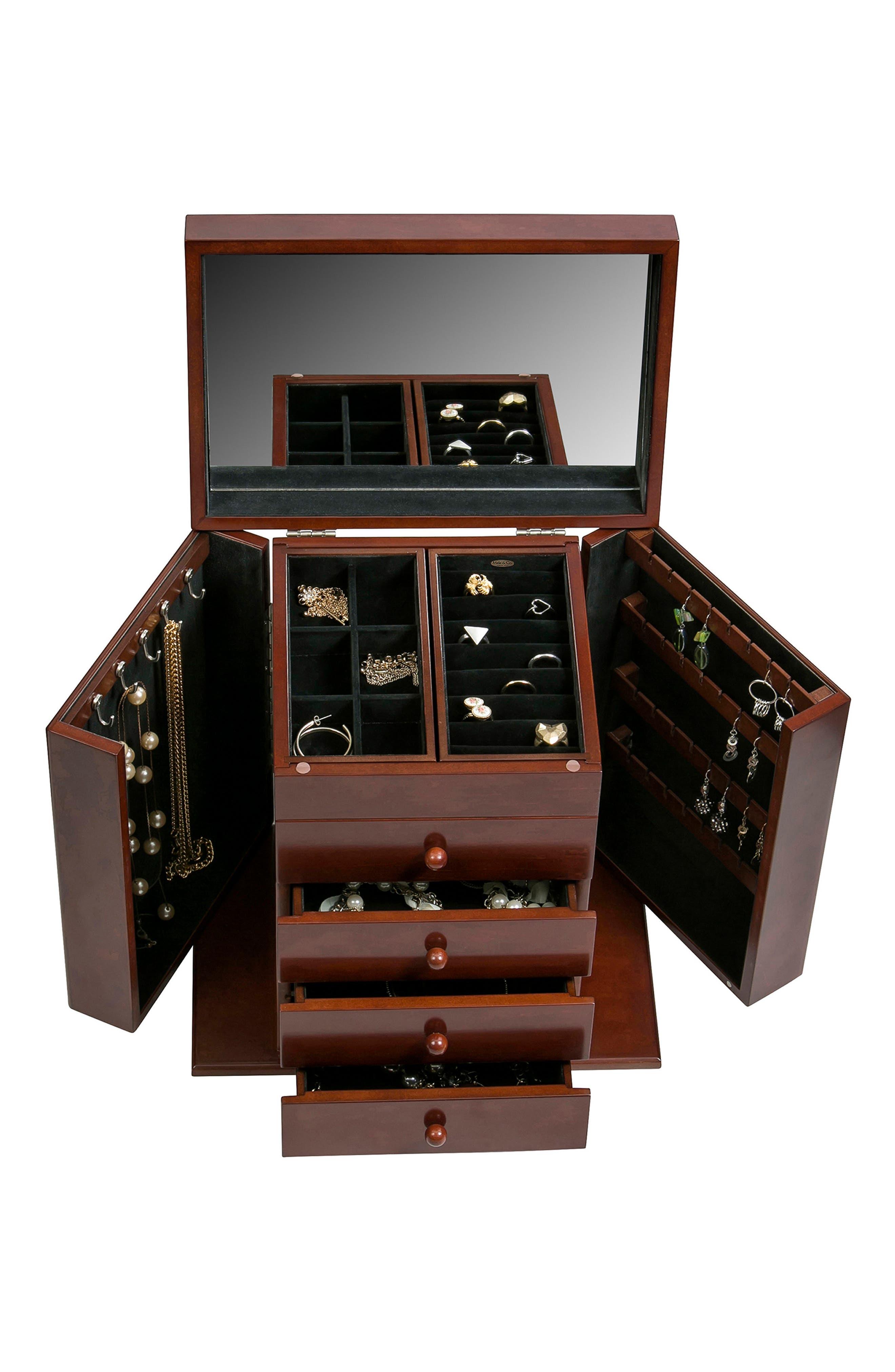 Shelburne Jewelry Box,                             Alternate thumbnail 4, color,                             Brown