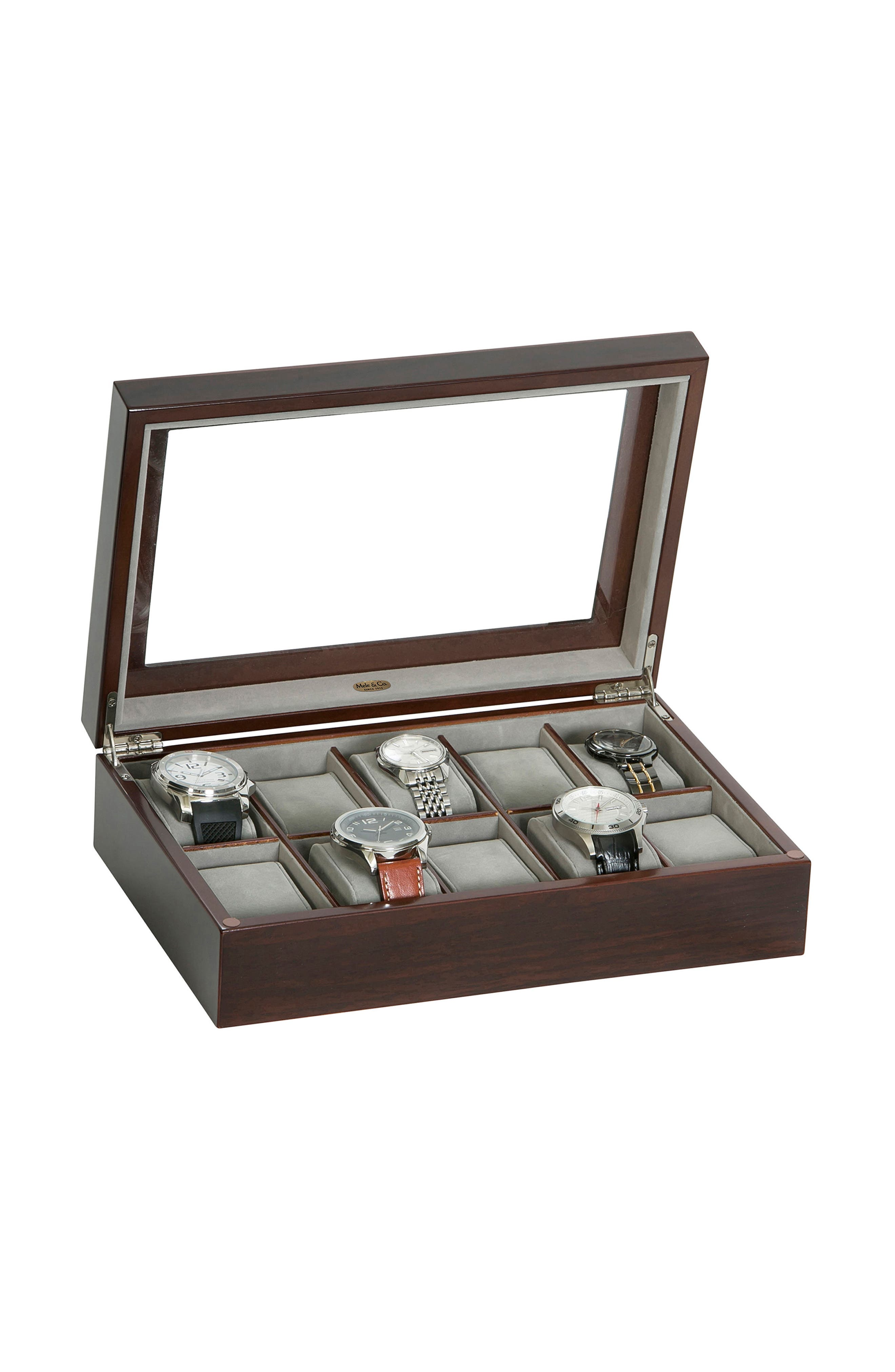 Hudson Glass Top Watch Box,                             Alternate thumbnail 2, color,                             Brown