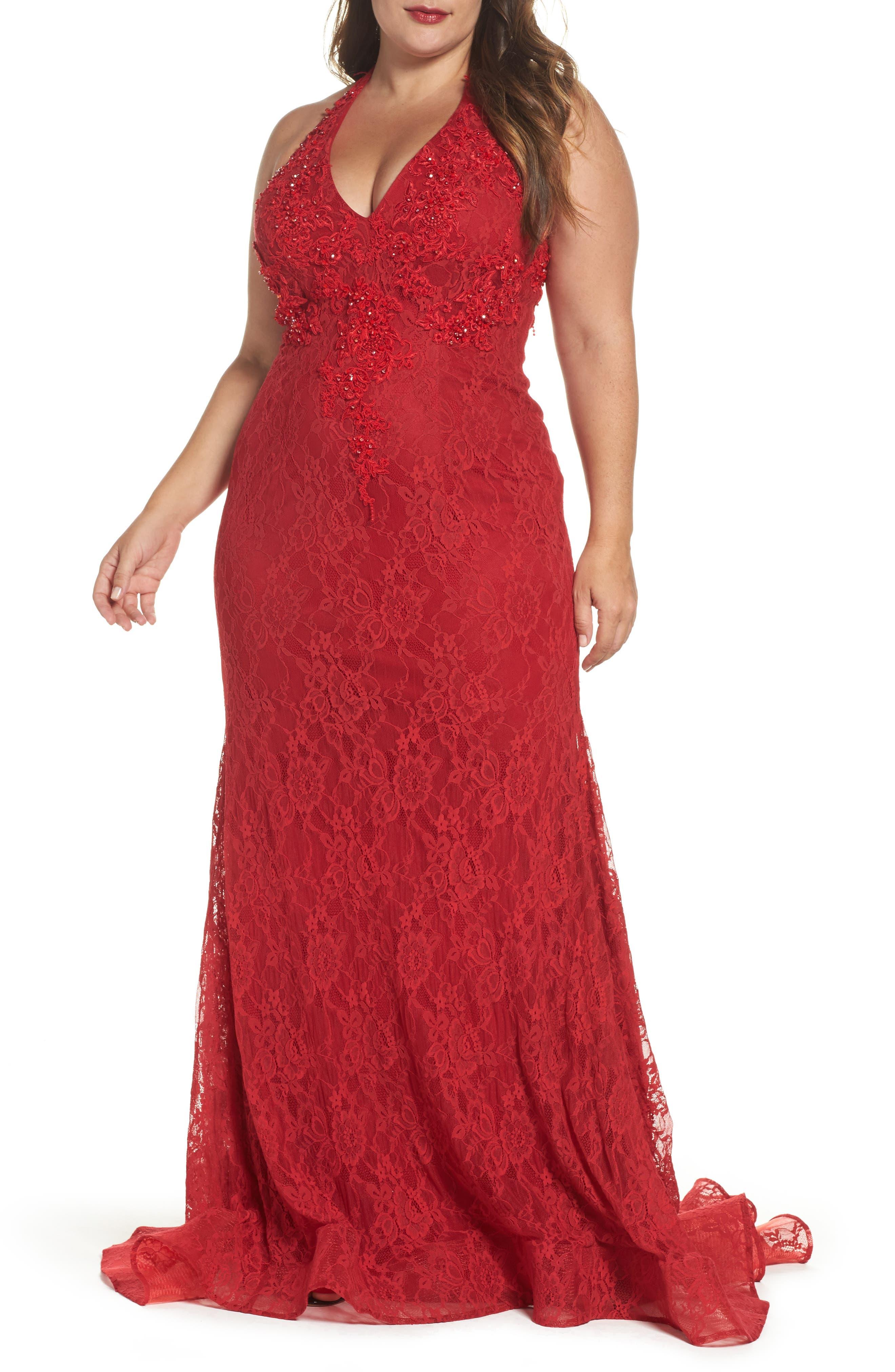 MacDuggal Lace Halter Dress,                             Main thumbnail 1, color,                             Red
