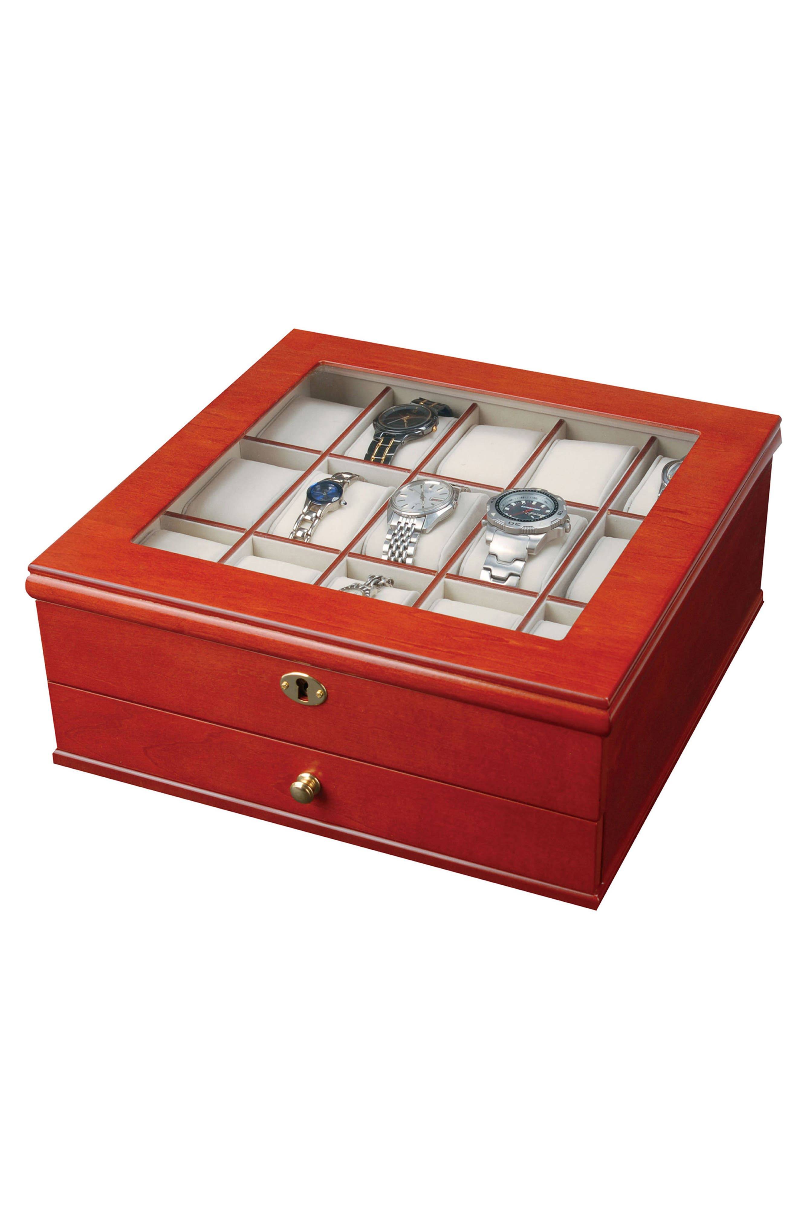 Chris Locking Watch & Jewelry Box,                             Main thumbnail 1, color,                             Brown