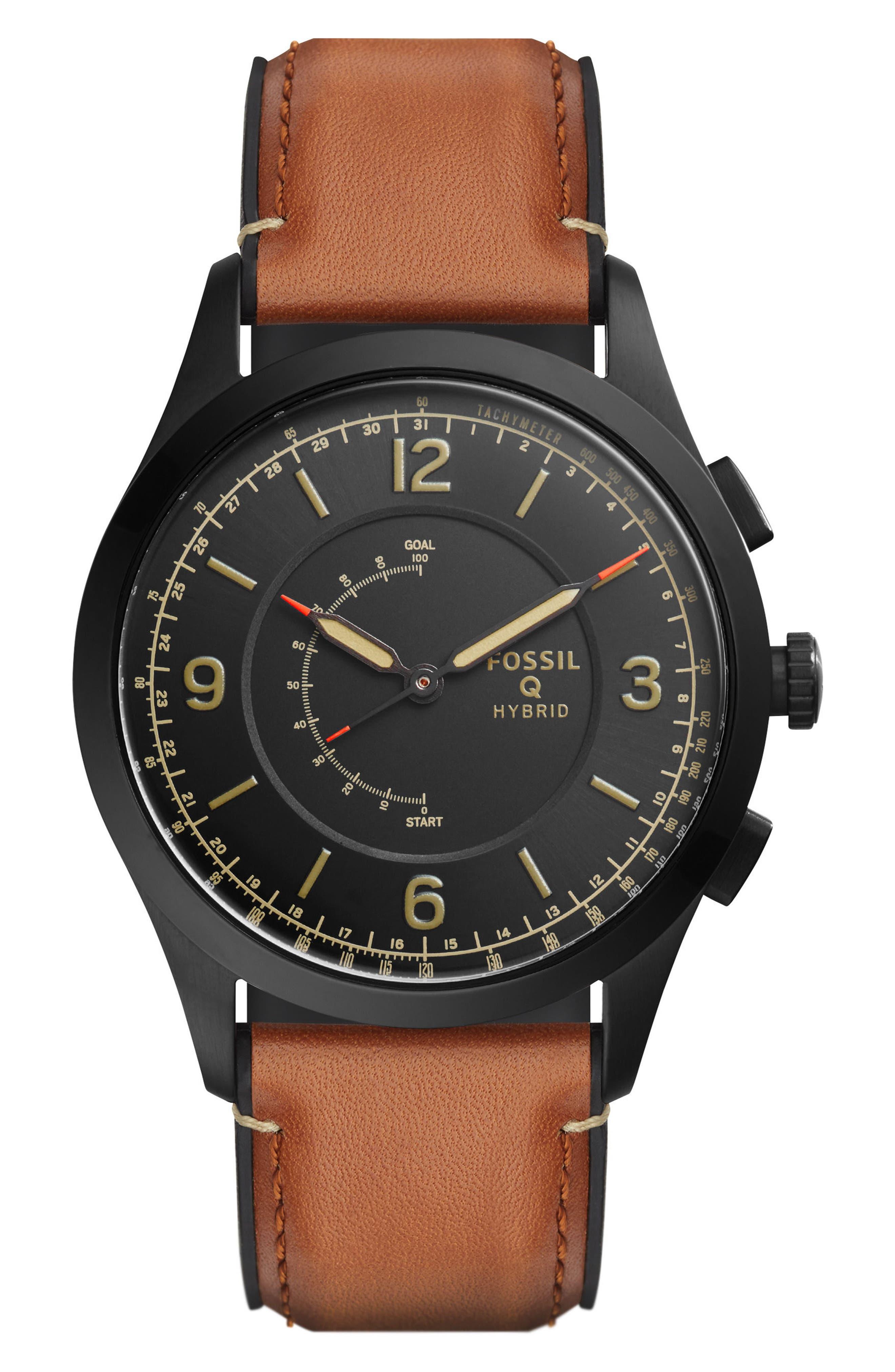 Q Activist Hybrid Leather Strap Watch, 42mm,                         Main,                         color, Brown/ Black