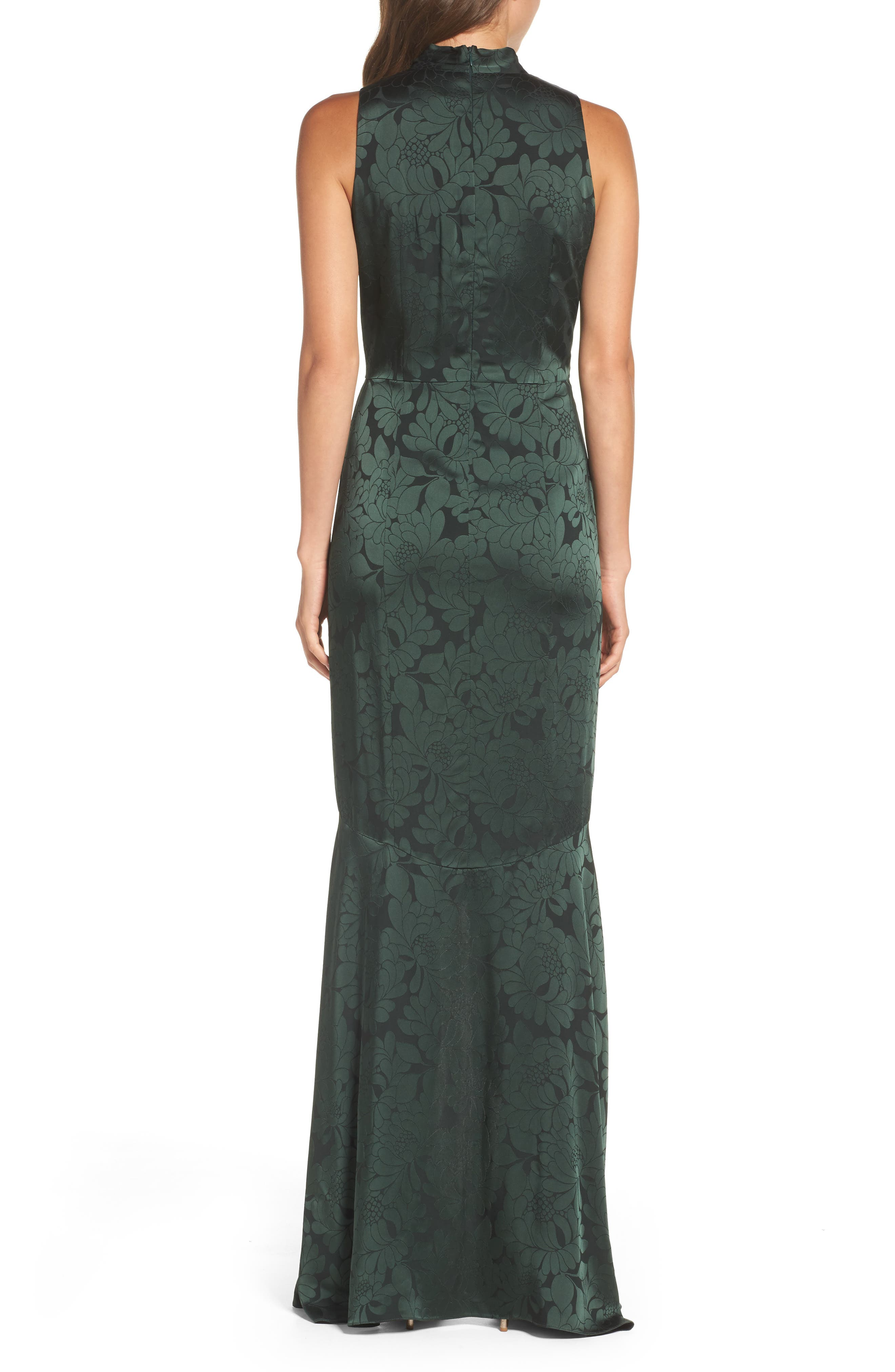 Mayburn Jacquard High/Low Gown,                             Alternate thumbnail 2, color,                             Dark Green