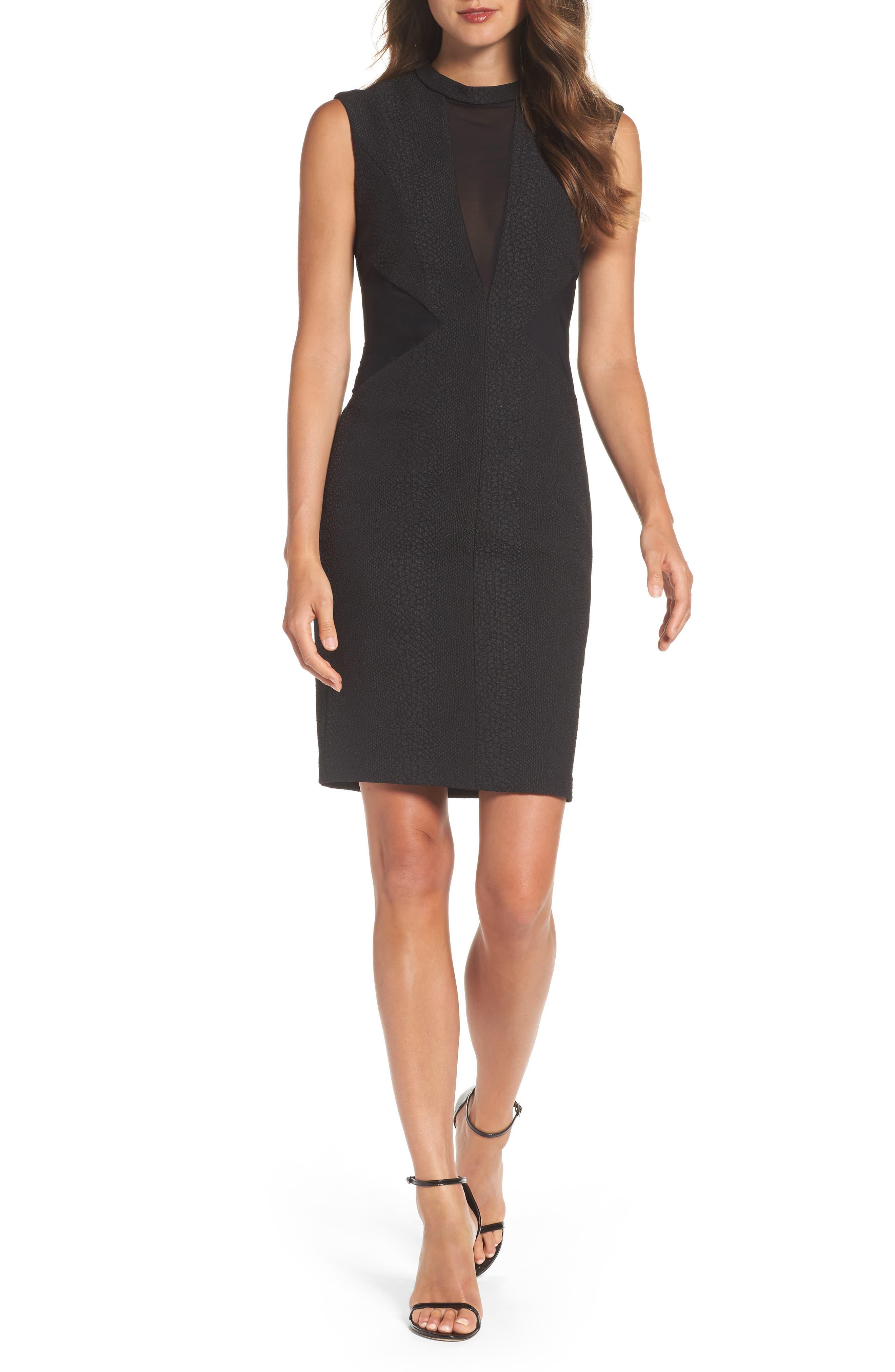 Croc Texture Panel Dress,                         Main,                         color, Black