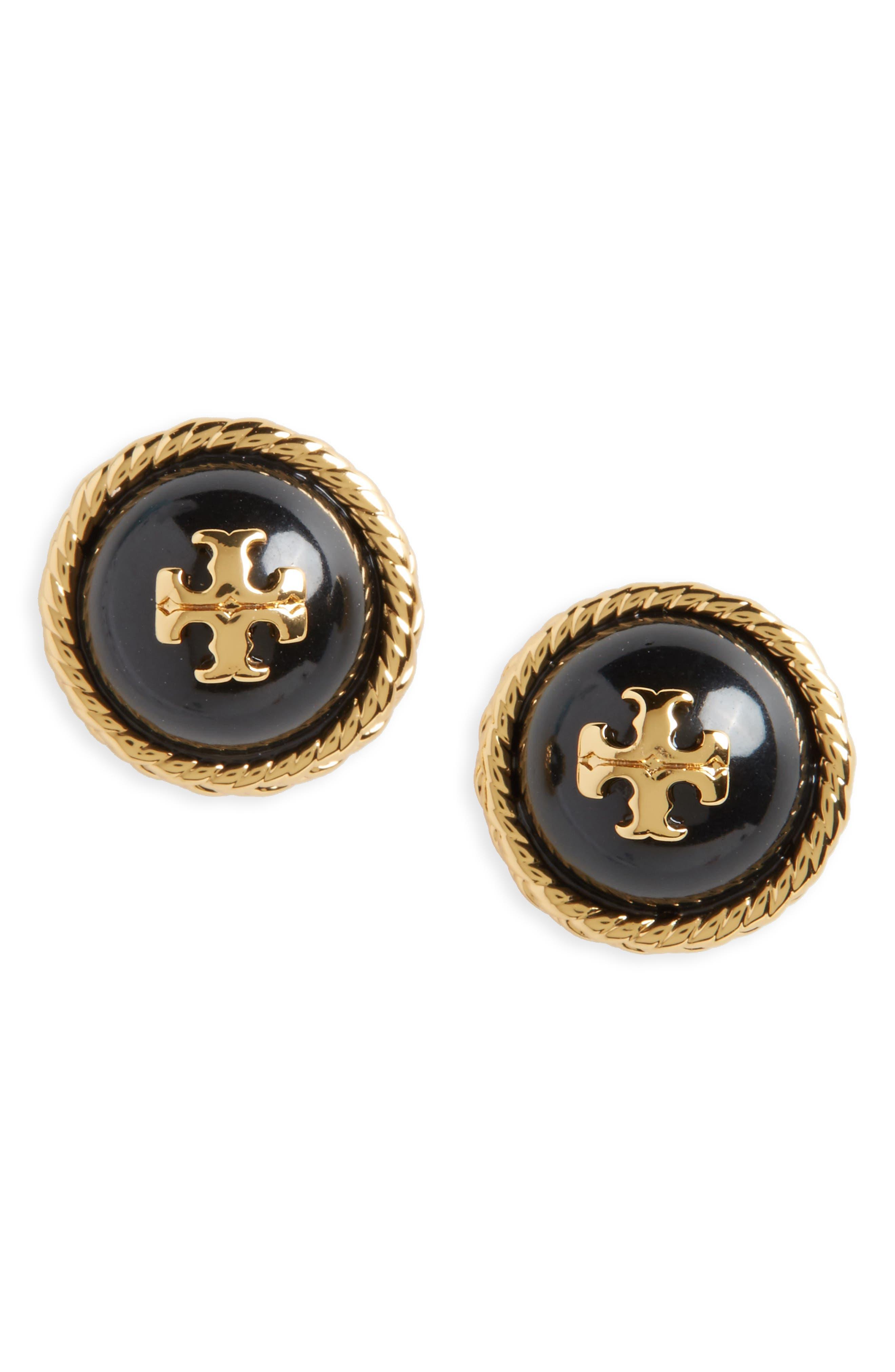 Rope Stud Earrings,                             Main thumbnail 1, color,                             Black / Tory Gold