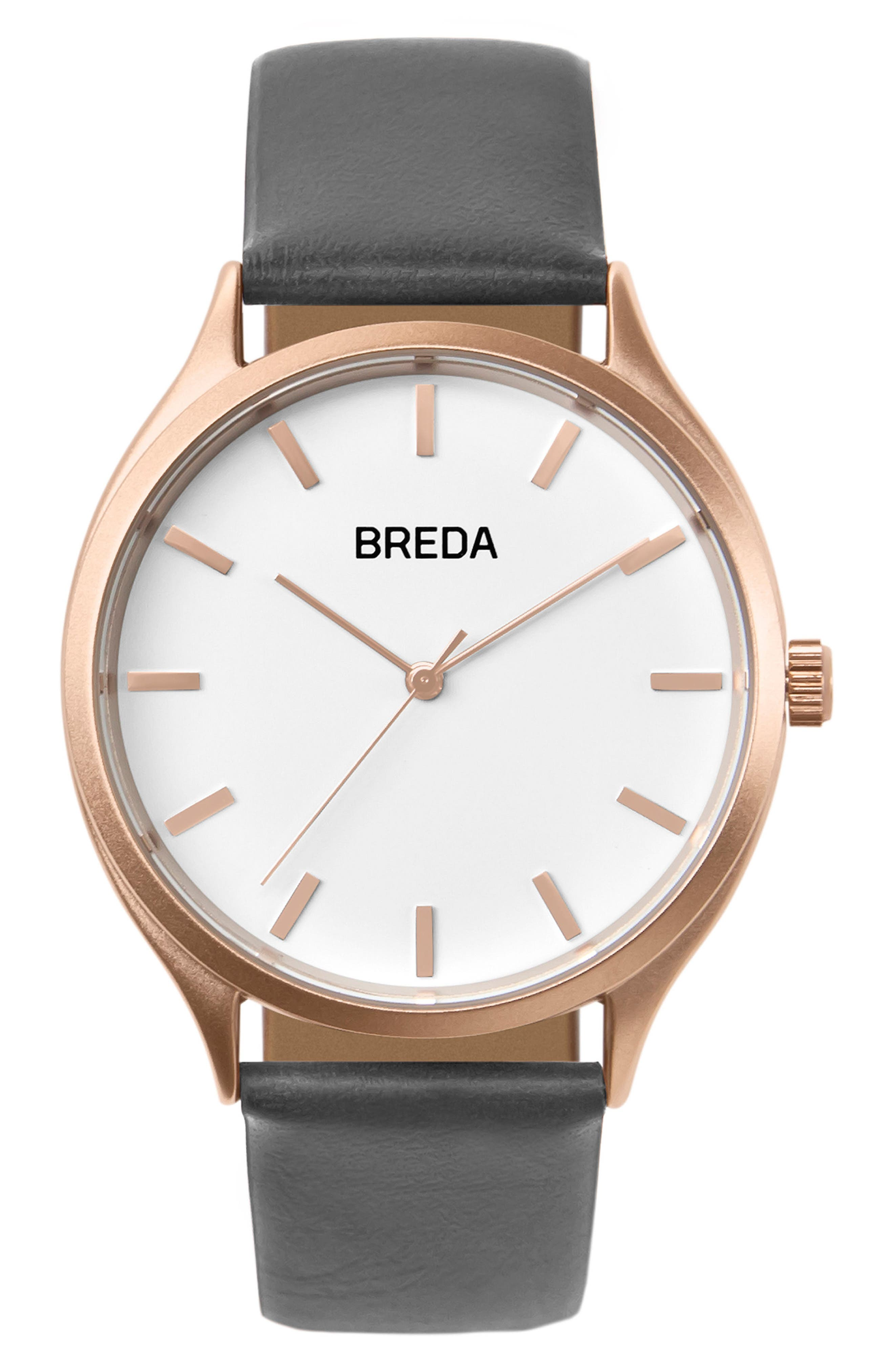BREDA Asper Round Leather Strap Watch, 40mm