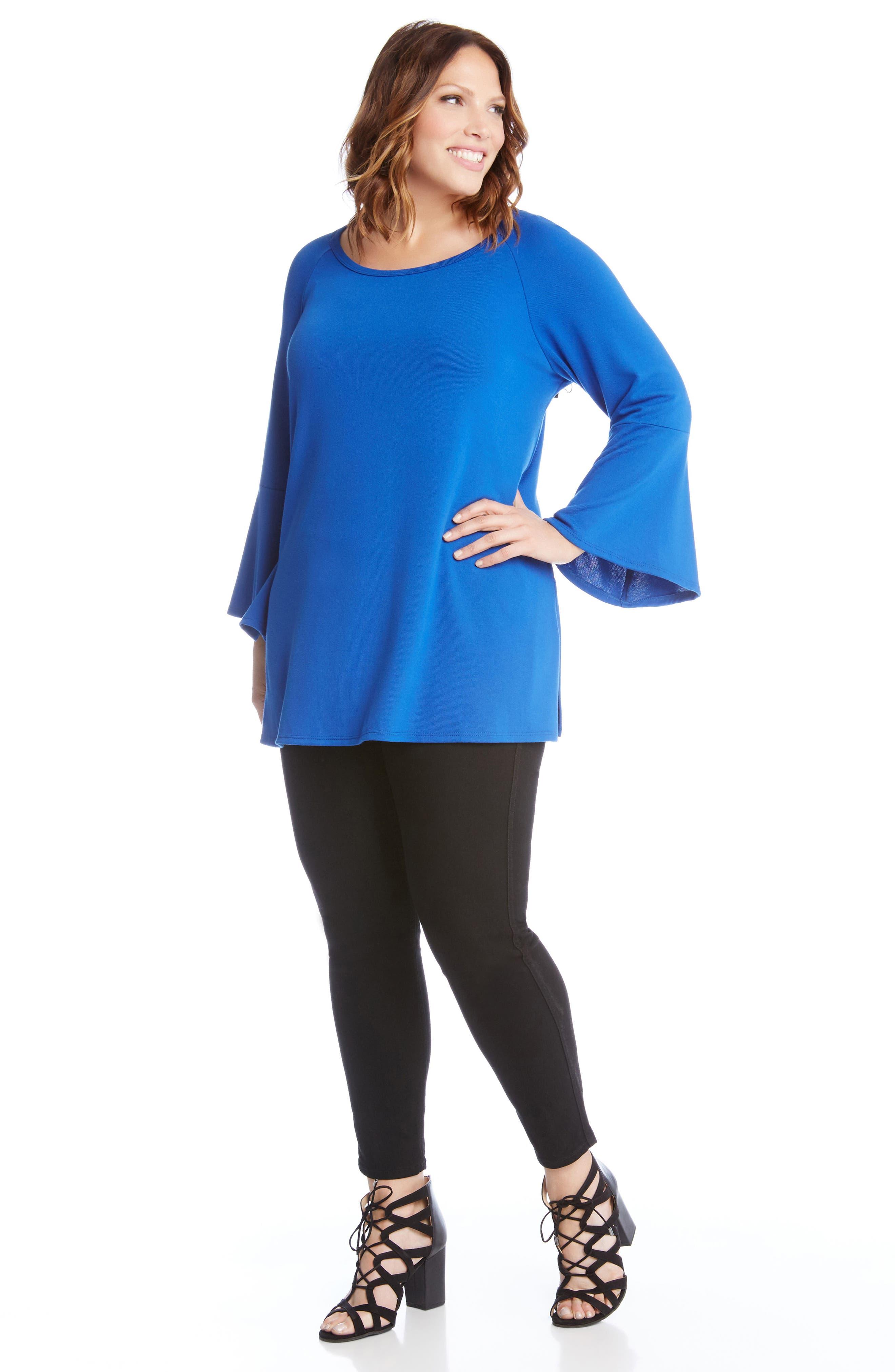 Bell Sleeve Swing Sweater,                             Alternate thumbnail 3, color,                             Blue