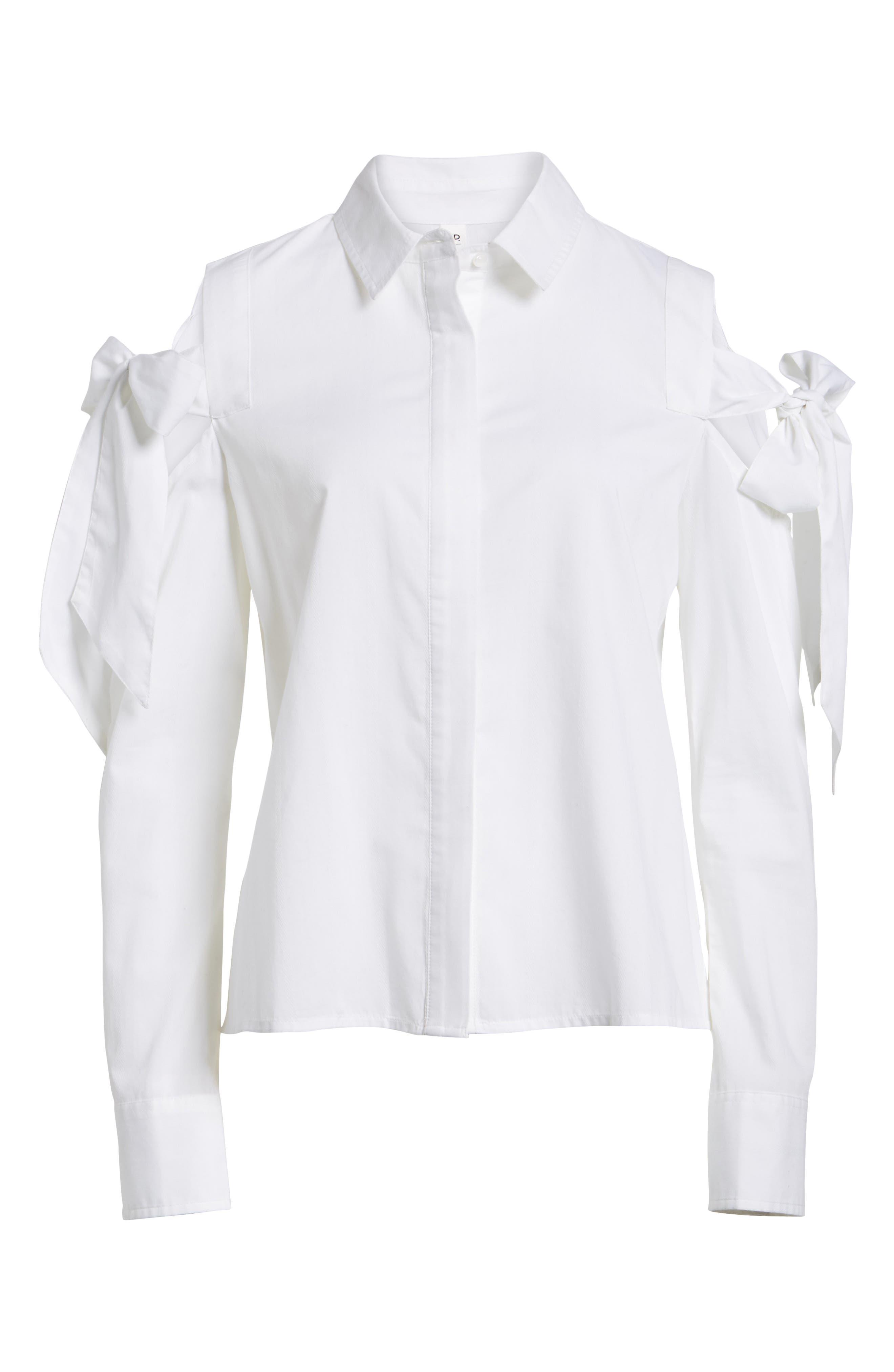 Bow Sleeve Cold Shoulder Shirt,                             Alternate thumbnail 6, color,                             White