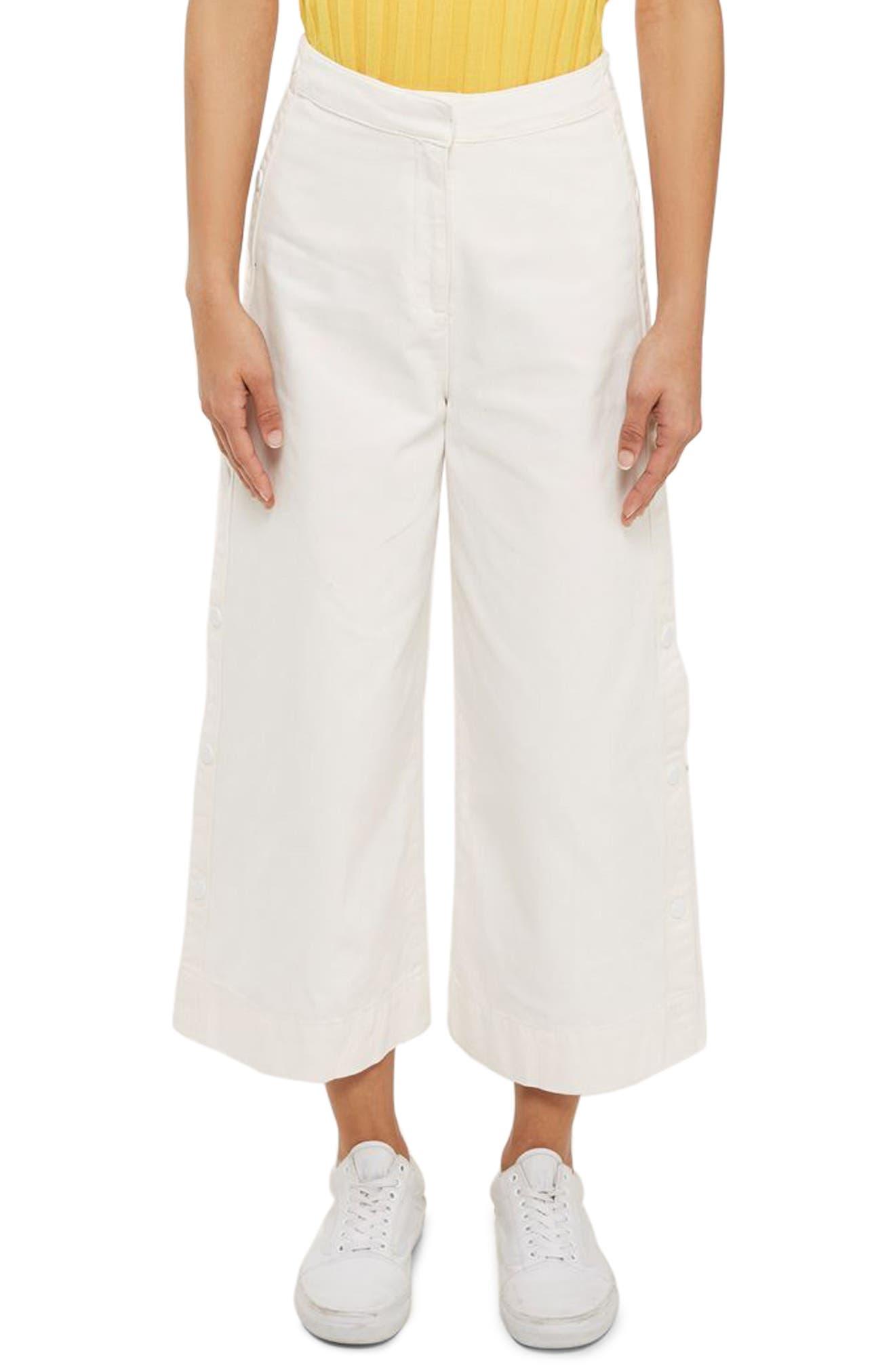 Topshop Boutique Side Snap Detail Crop Flare Leg Jeans
