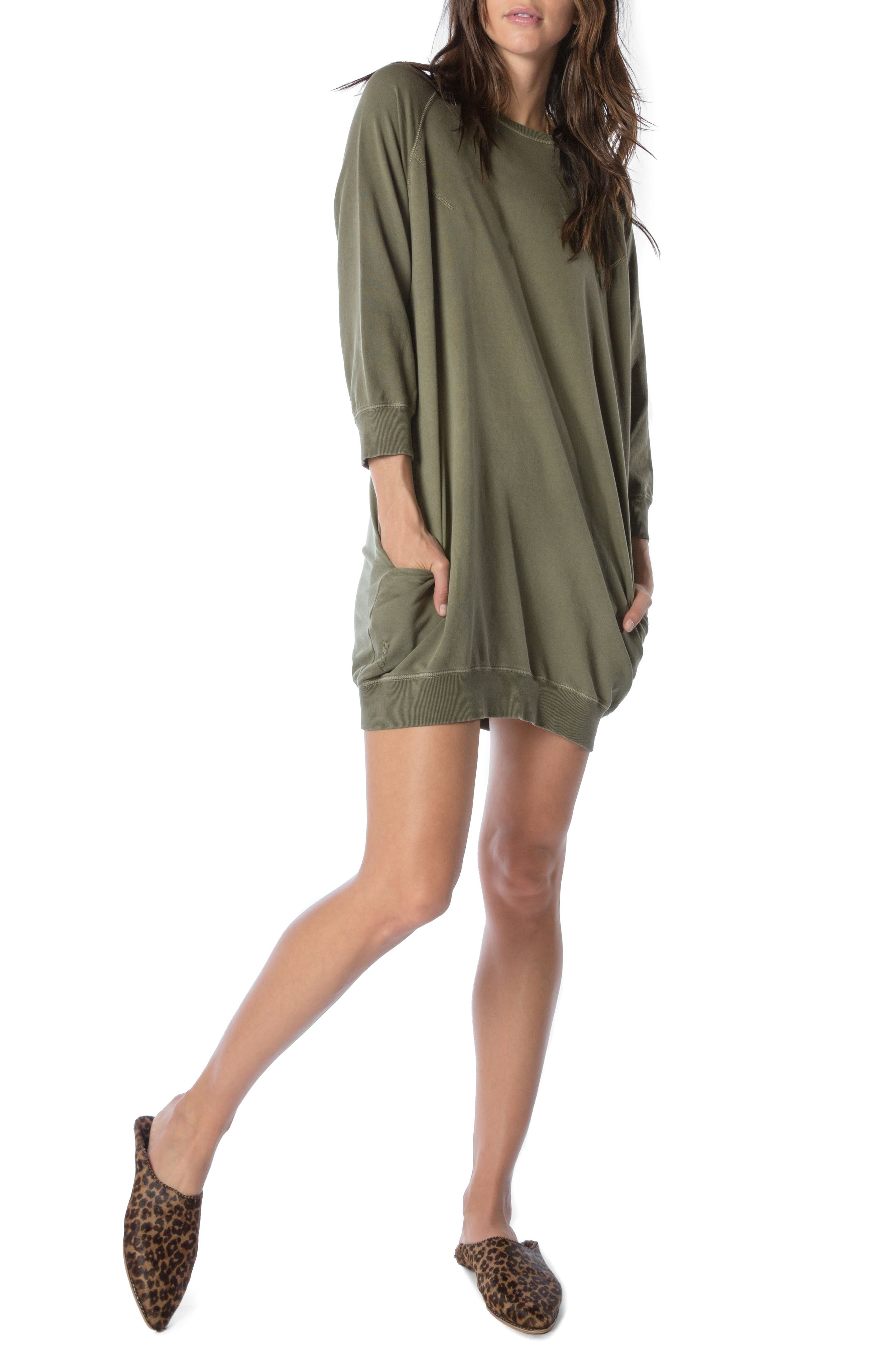 Sweatshirt Dress,                         Main,                         color, Faded Army